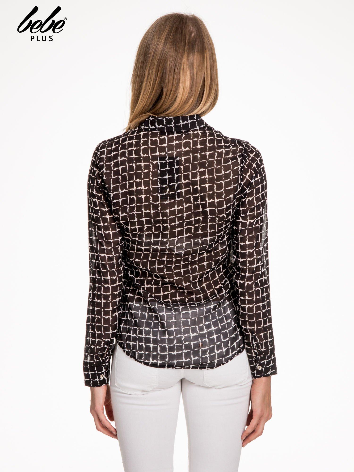 Czarno-biała koszula w geometryczne wzory z wiązaniem                                  zdj.                                  2