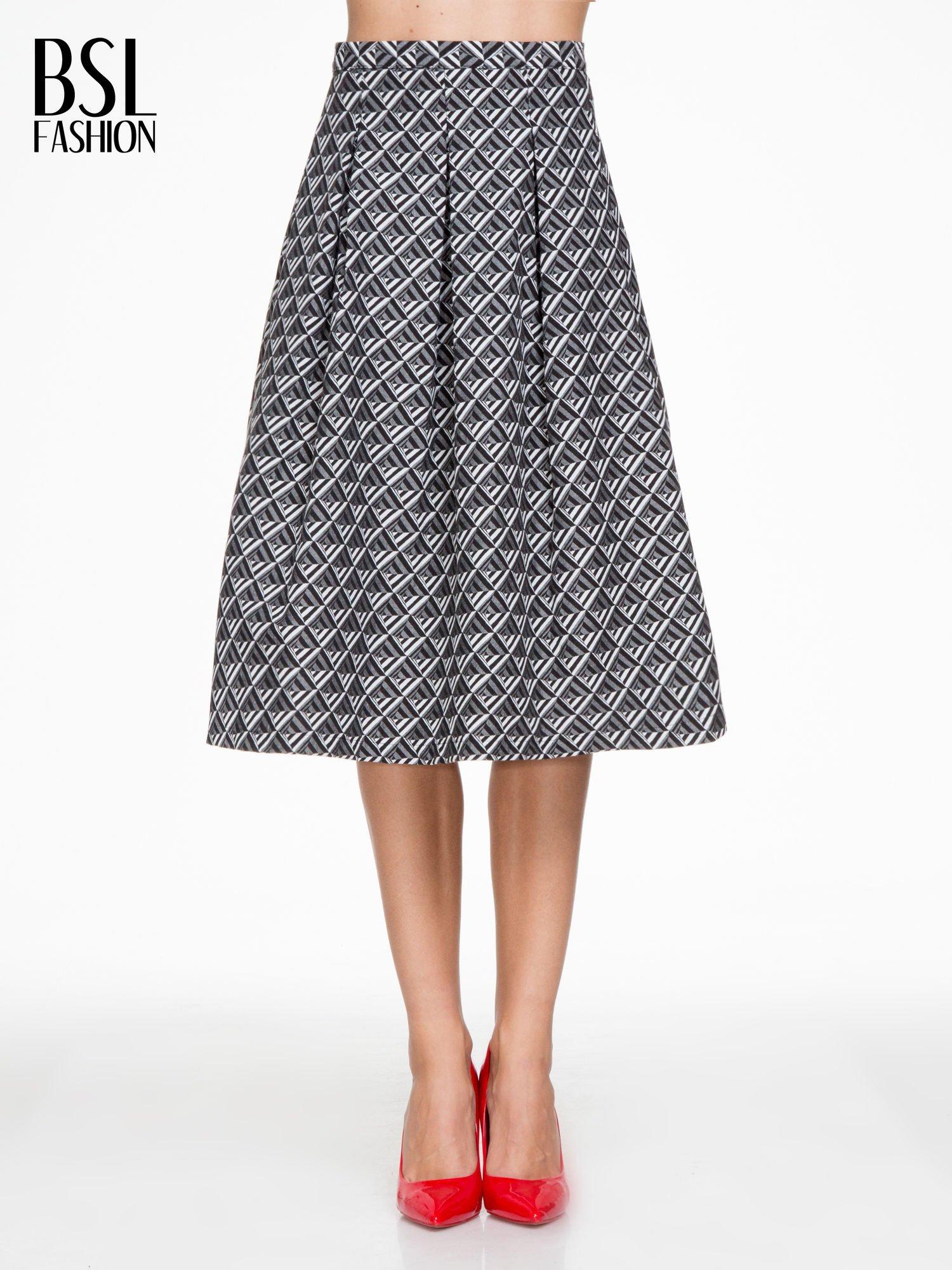 5ffd1382 Czarno-biała spódnica midi w geometryczny wzór I