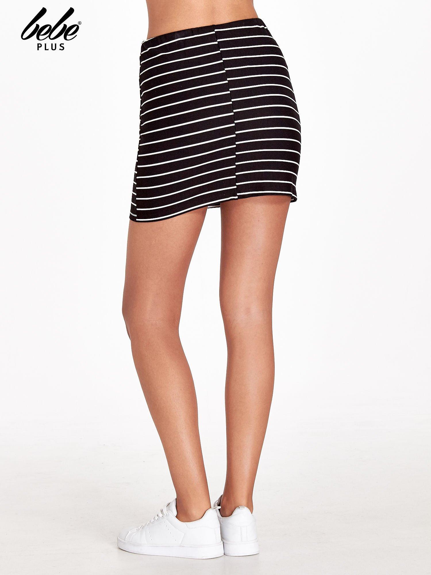 Czarno-biała spódnica w paski z suwakami                                  zdj.                                  4