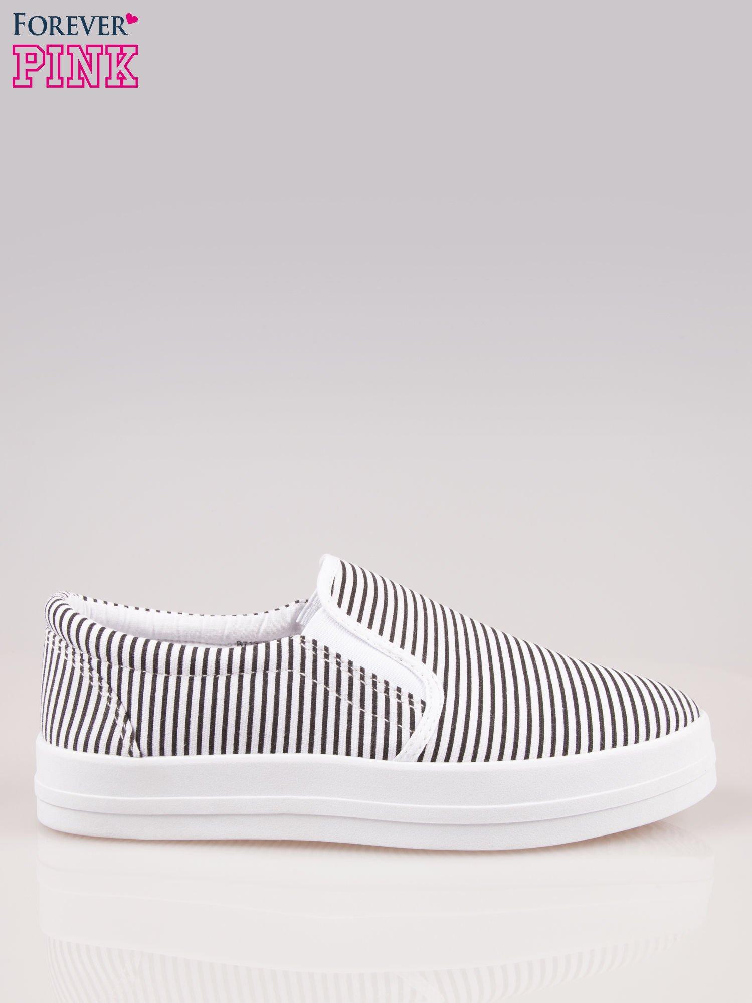 Czarno-białe buty slip on w paski na grubej podeszwie                                  zdj.                                  1