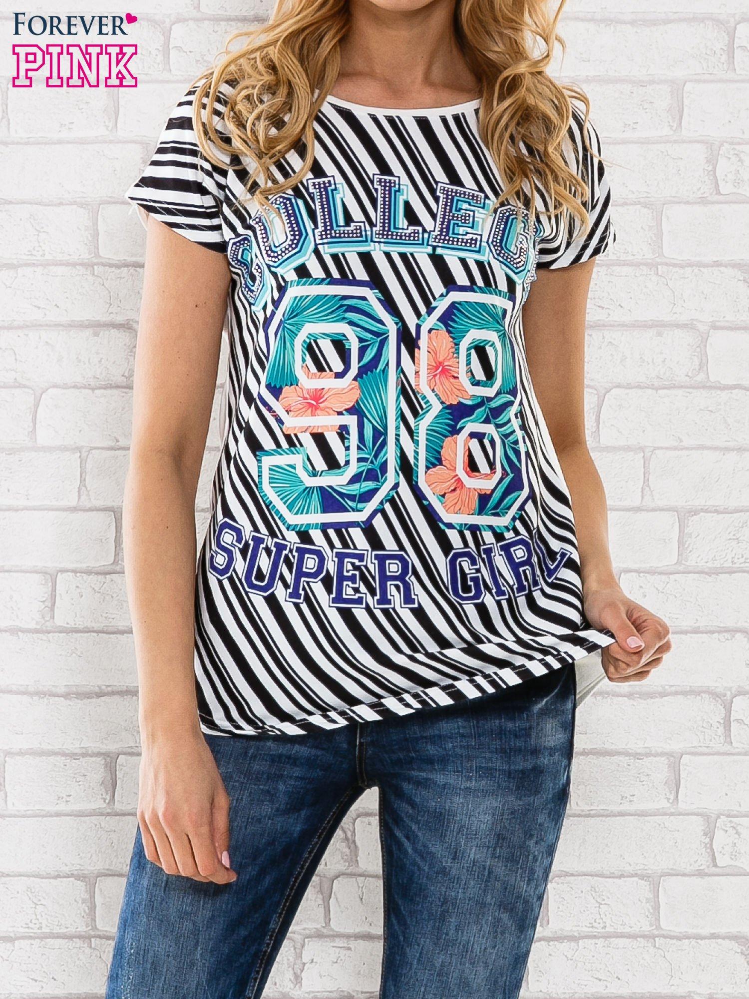 Czarno-biały t-shirt z napisem COLLEGE                                  zdj.                                  1