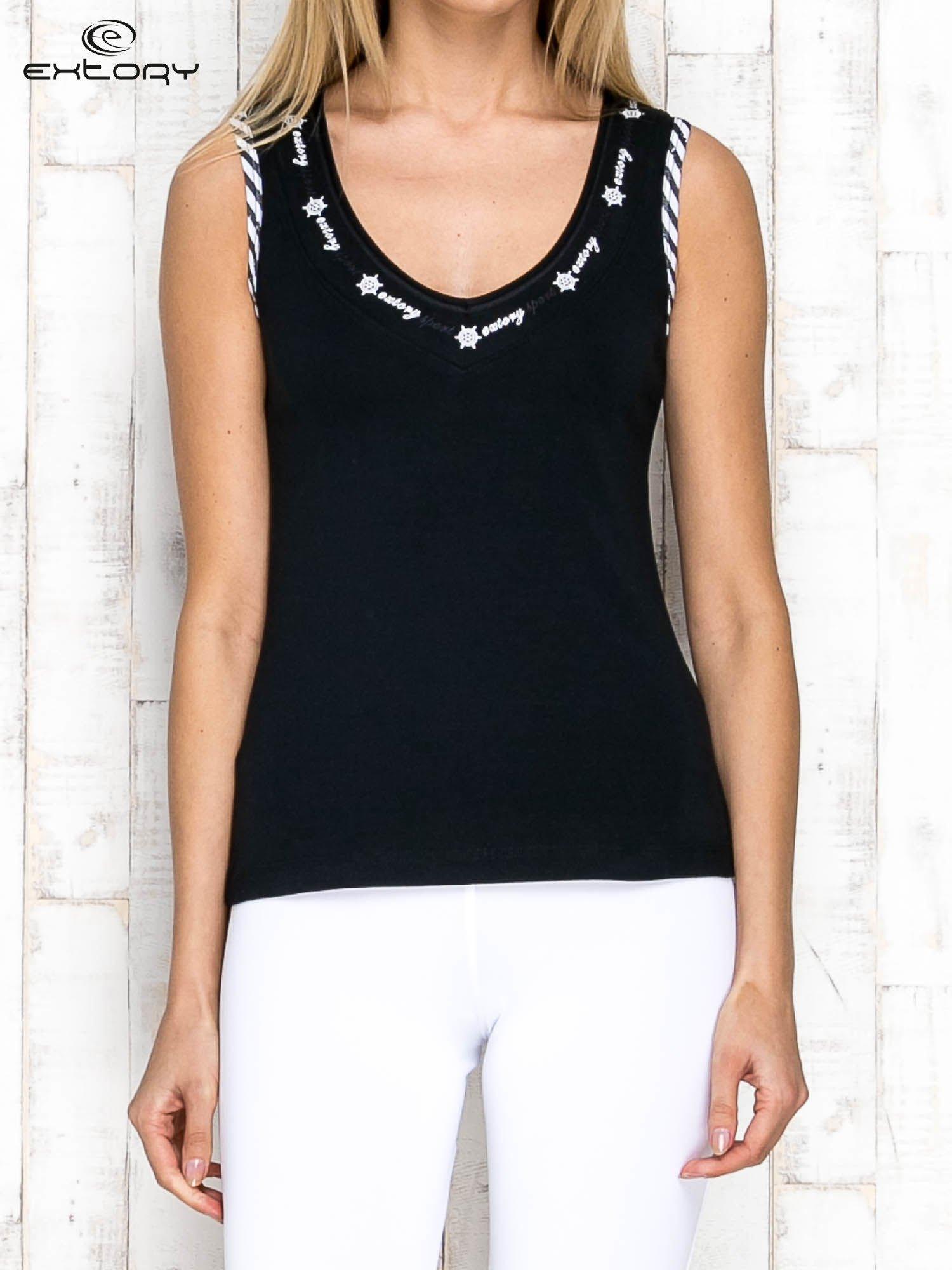 Czarno-biały top sportowy z lamówką w stylu marynarskim                                  zdj.                                  1
