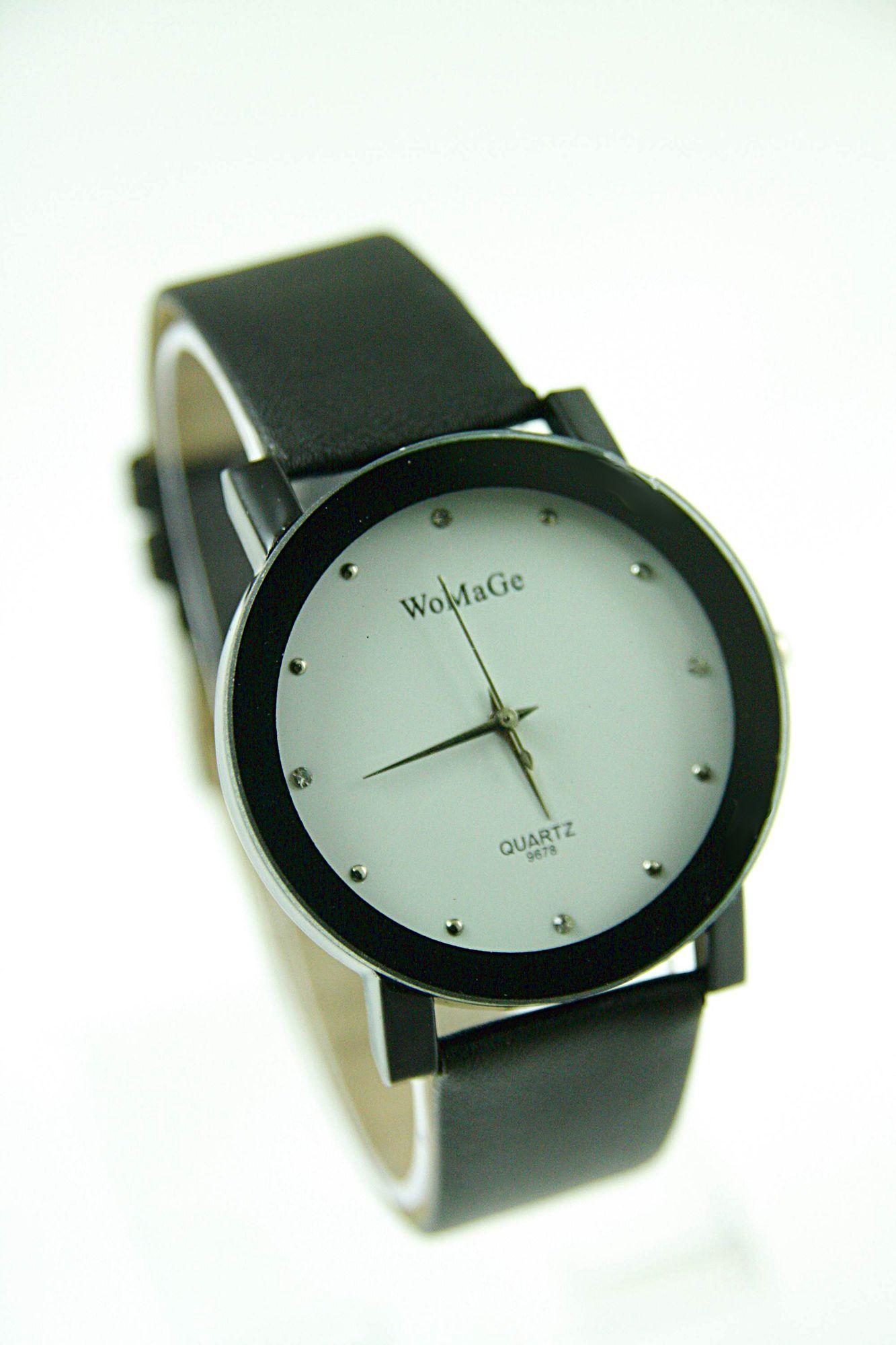 Czarno-biały zegarek damski z cyrkoniami na skórzanym pasku                                  zdj.                                  1