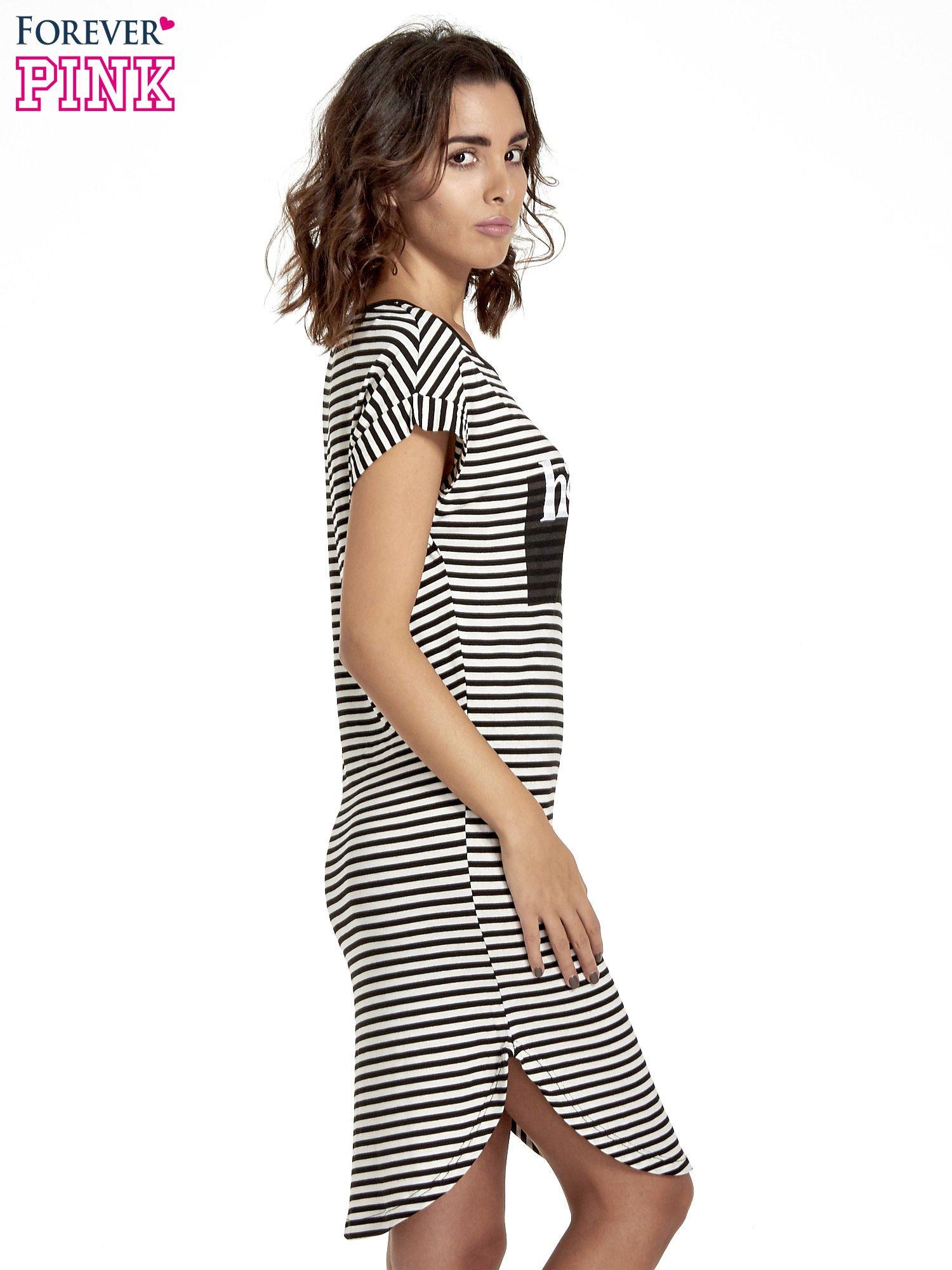 Czarno-ecru sukienka w paski z napisem HAPPINESS                                  zdj.                                  3