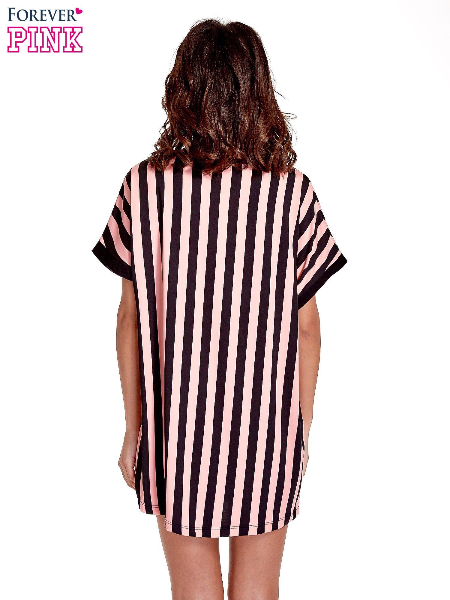 Czarno-różowa tunika w pionowe pasy                                  zdj.                                  4