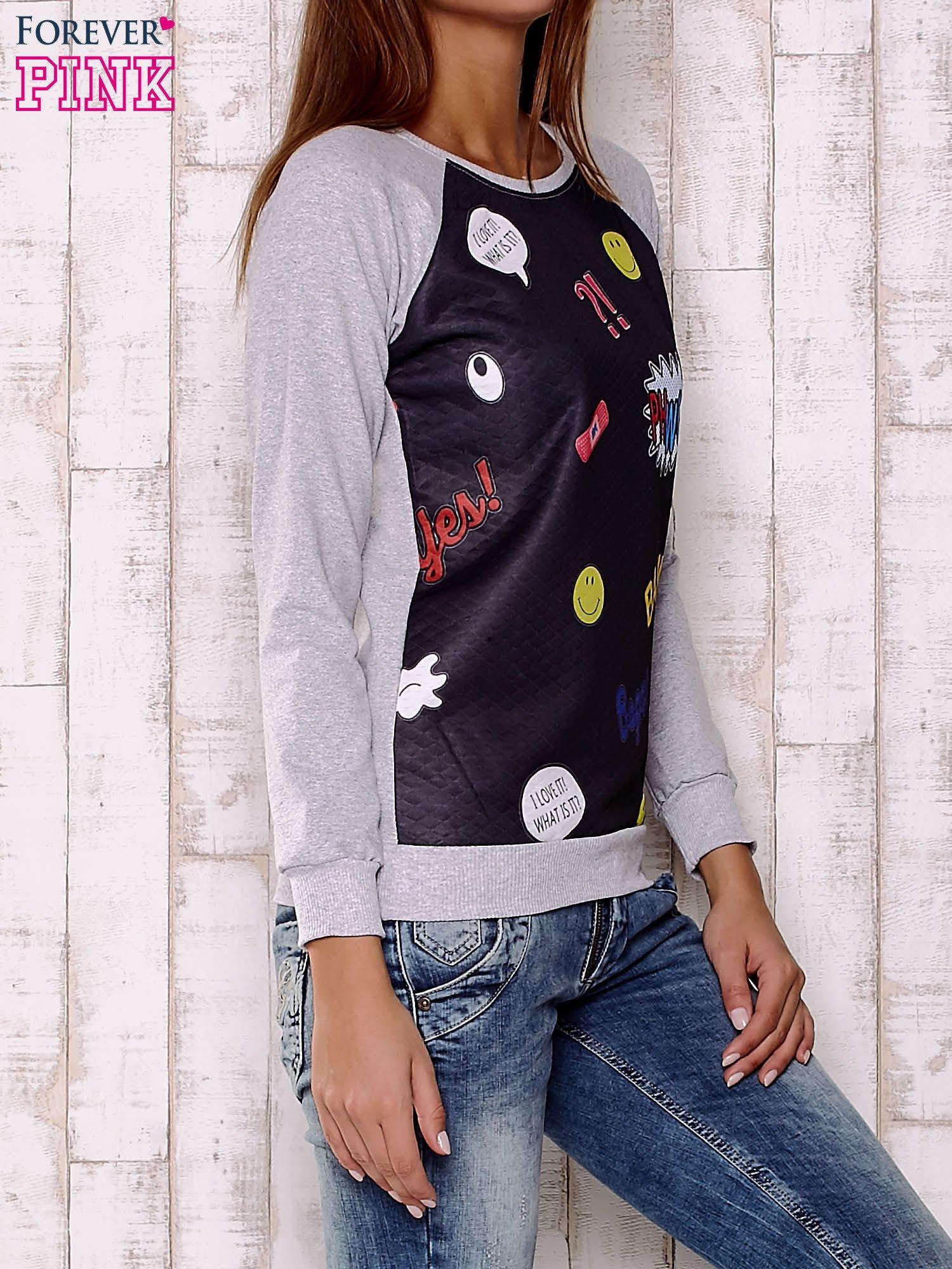 Czarno-szara bluza z komiksowymi motywami                                  zdj.                                  3