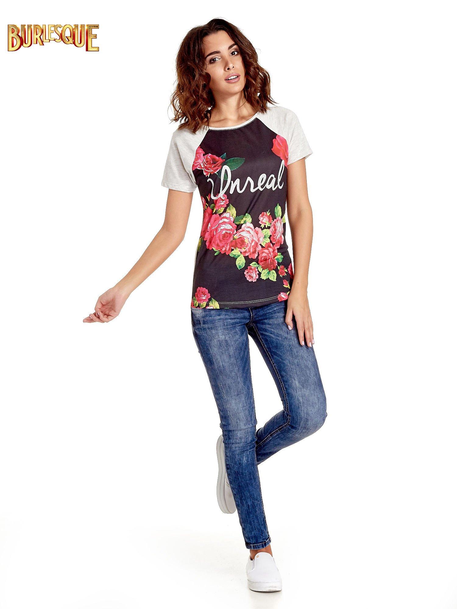 Czarnt t-shirt z kwiatowym nadrukiem i napisem UNREAL                                  zdj.                                  7