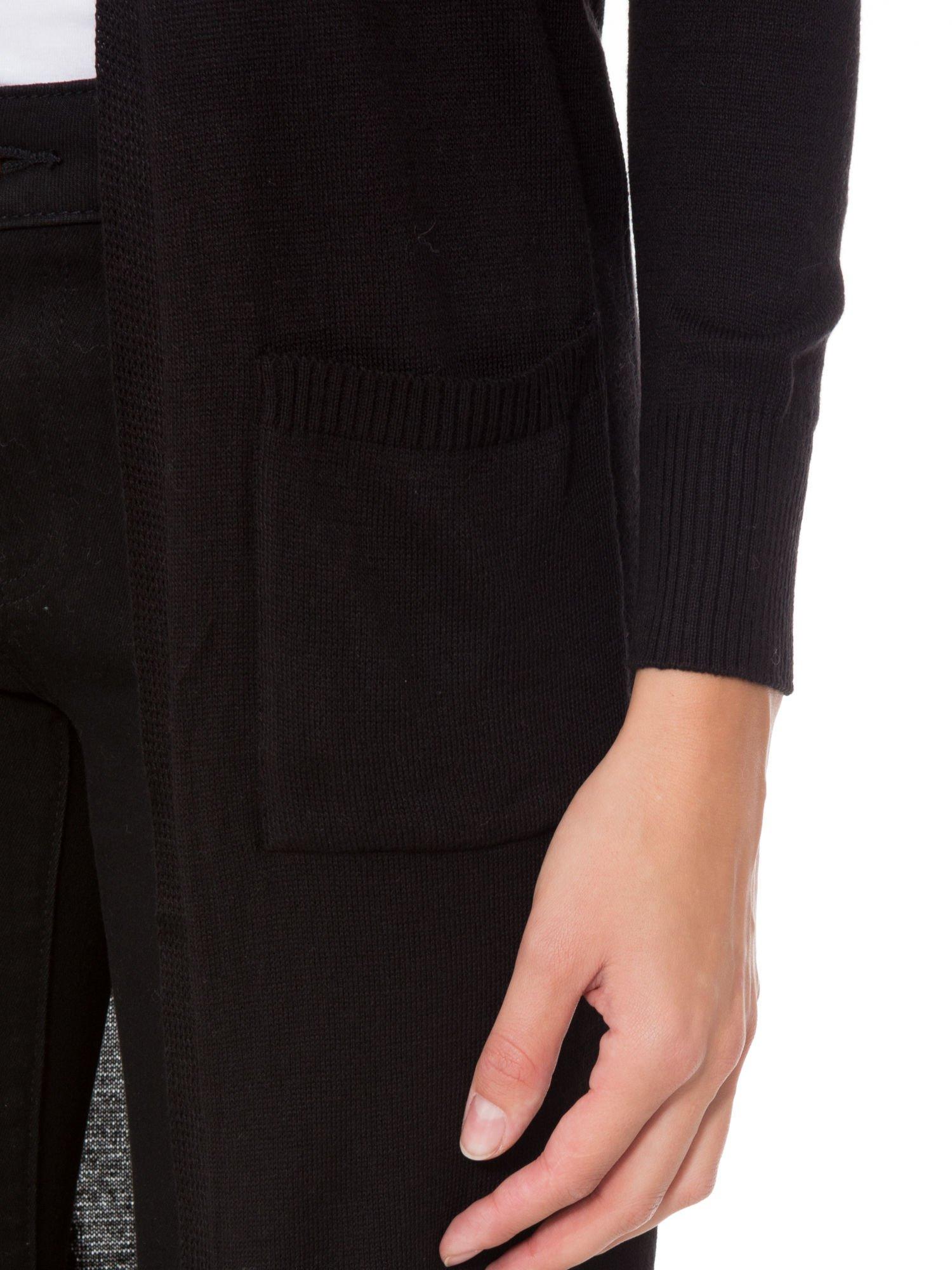 Czarny długi gładki sweter kardigan z kieszeniami                                  zdj.                                  7