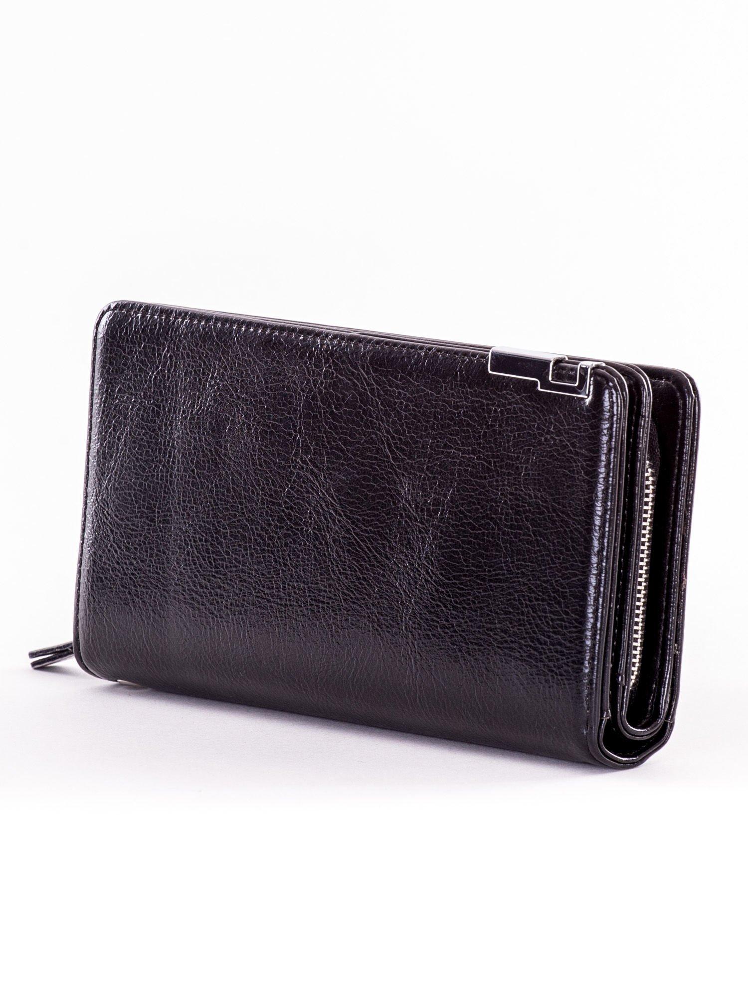 bd94a7cc8302e Czarny matowy długi portfel kopertówka na zamek i zatrzask - Akcesoria  portfele - sklep eButik.pl