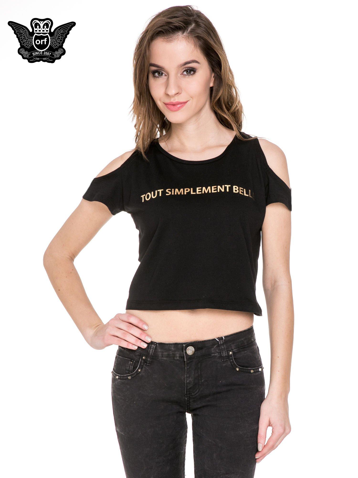 Czarny krótki t-shirt ze słotym nadrukiem TOUT SIMPLEMENT BELLE i rękawami cut out                                  zdj.                                  1