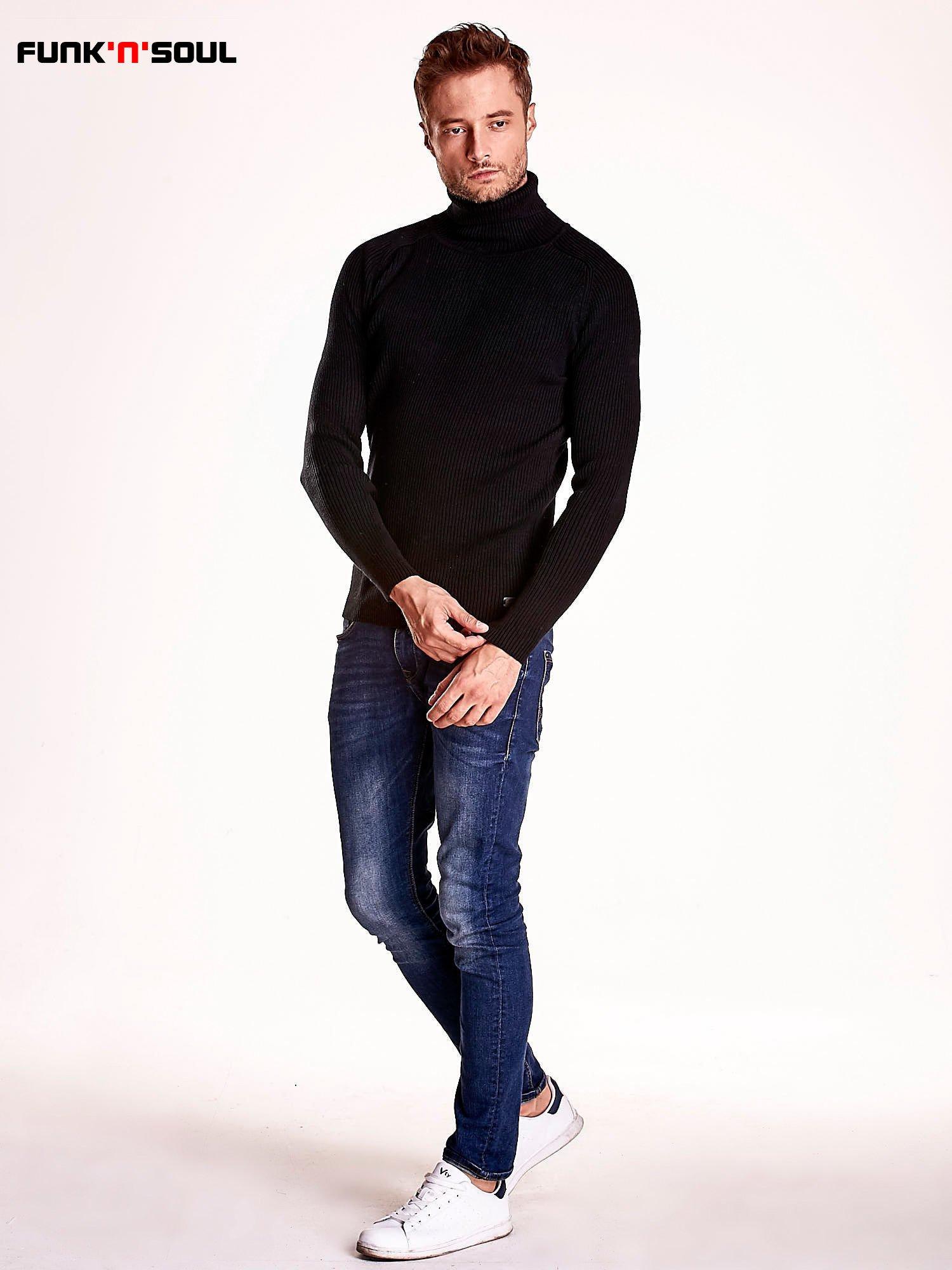 Czarny męski sweter z golfem FUNK N SOUL                                  zdj.                                  3