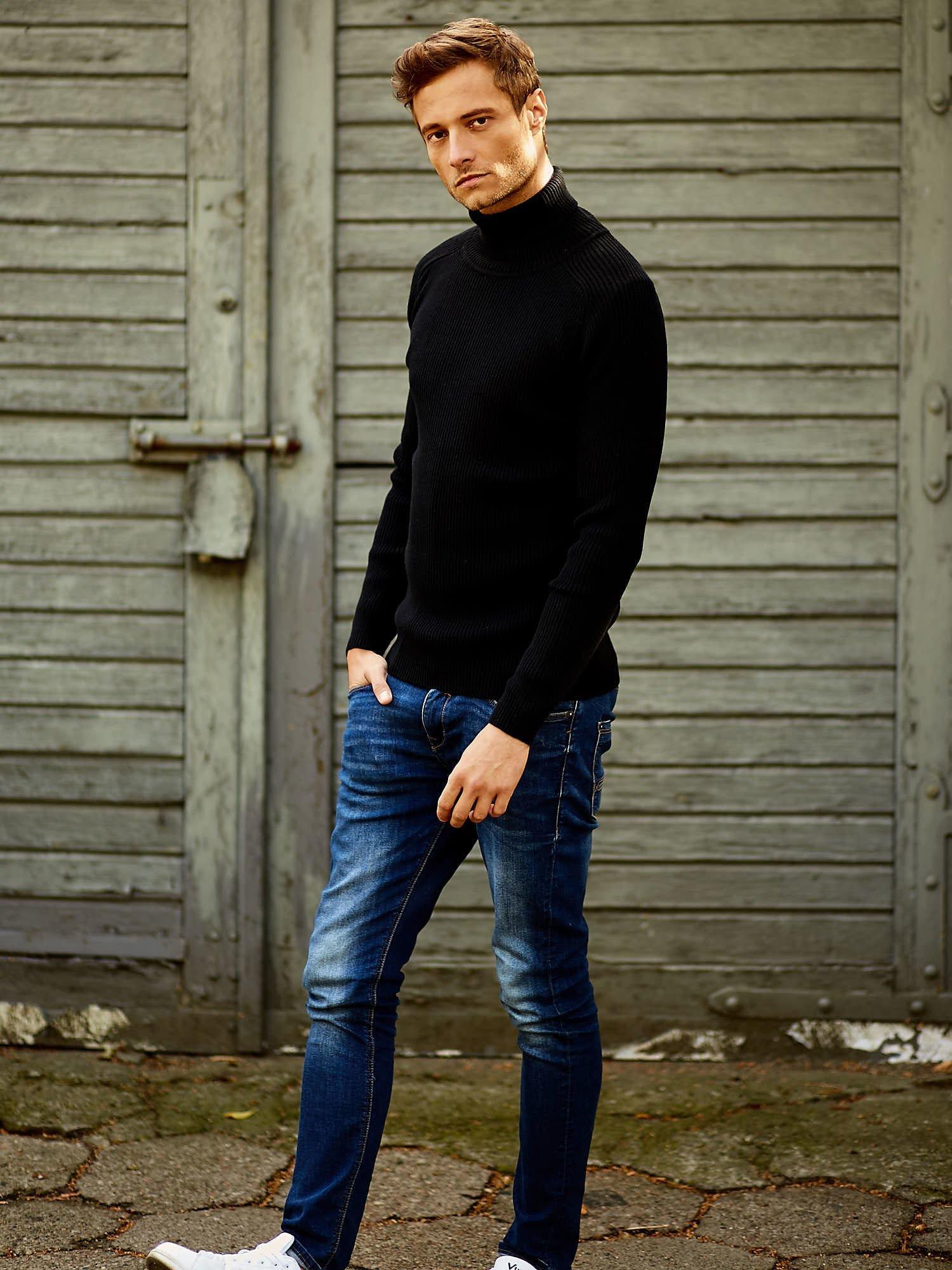 Czarny męski sweter z golfem FUNK N SOUL                                  zdj.                                  7