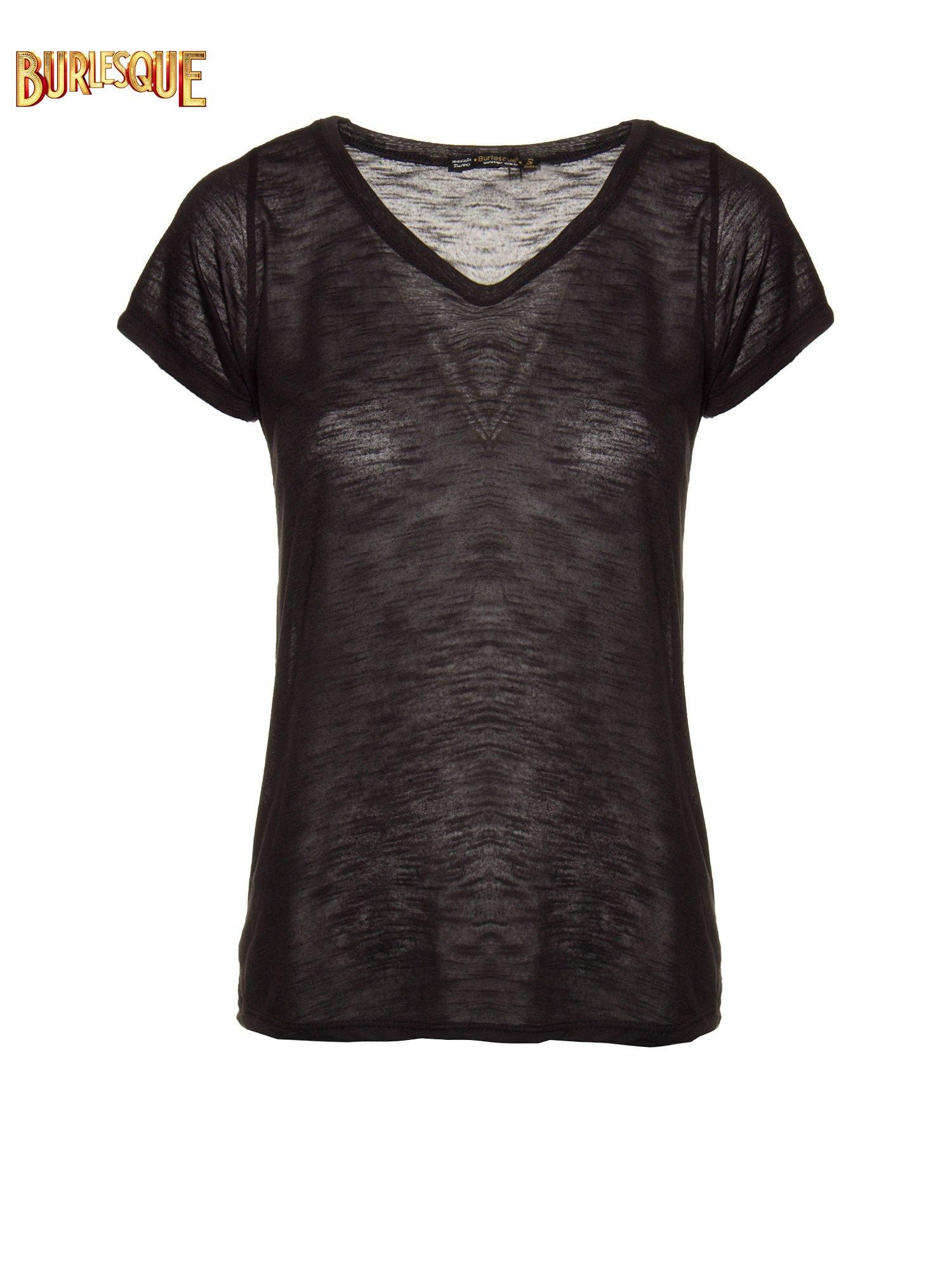Czarny półtransparentny t-shirt basic                                  zdj.                                  1