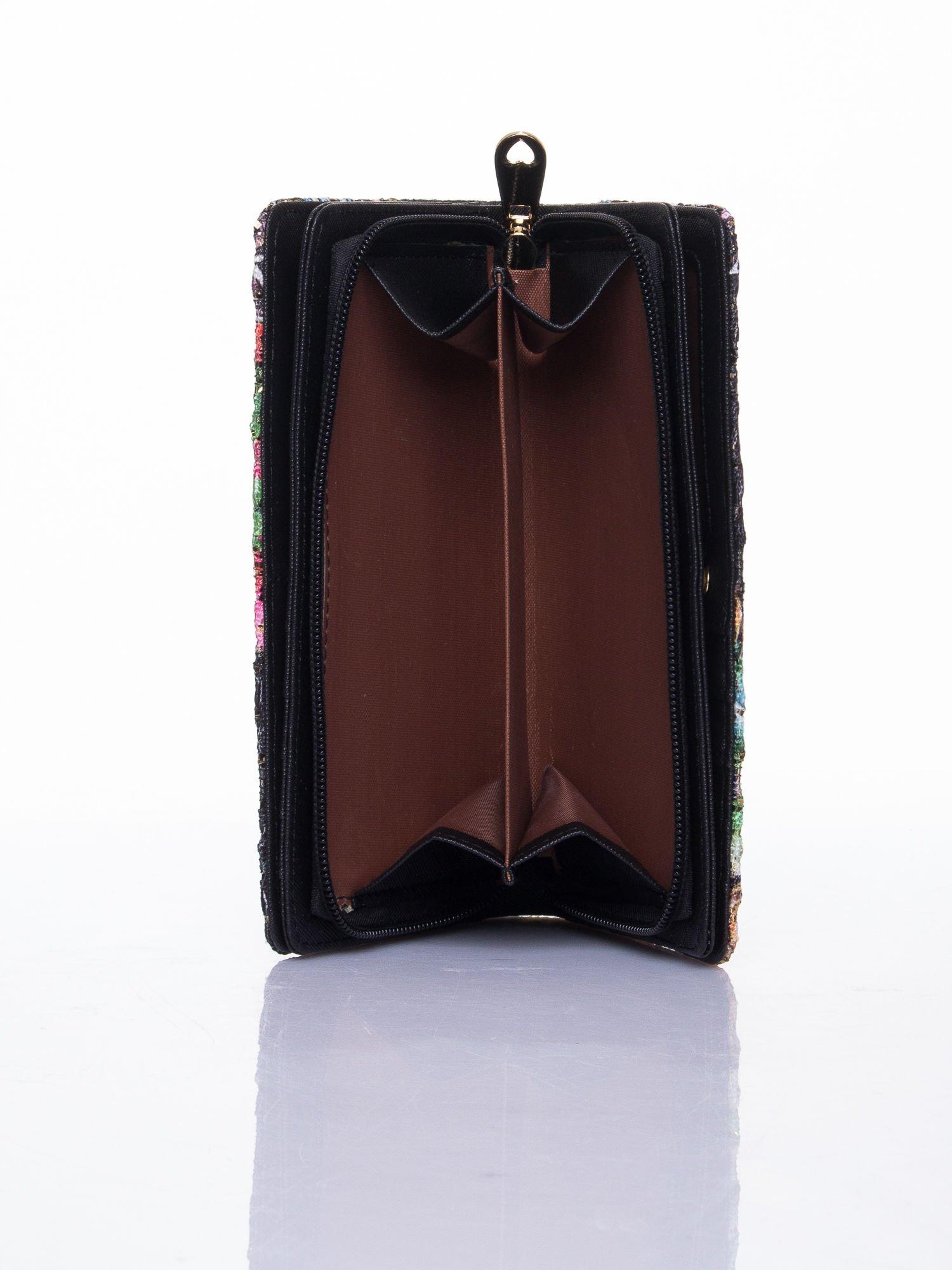 Czarny portfel z nadrukiem paisley                                  zdj.                                  6