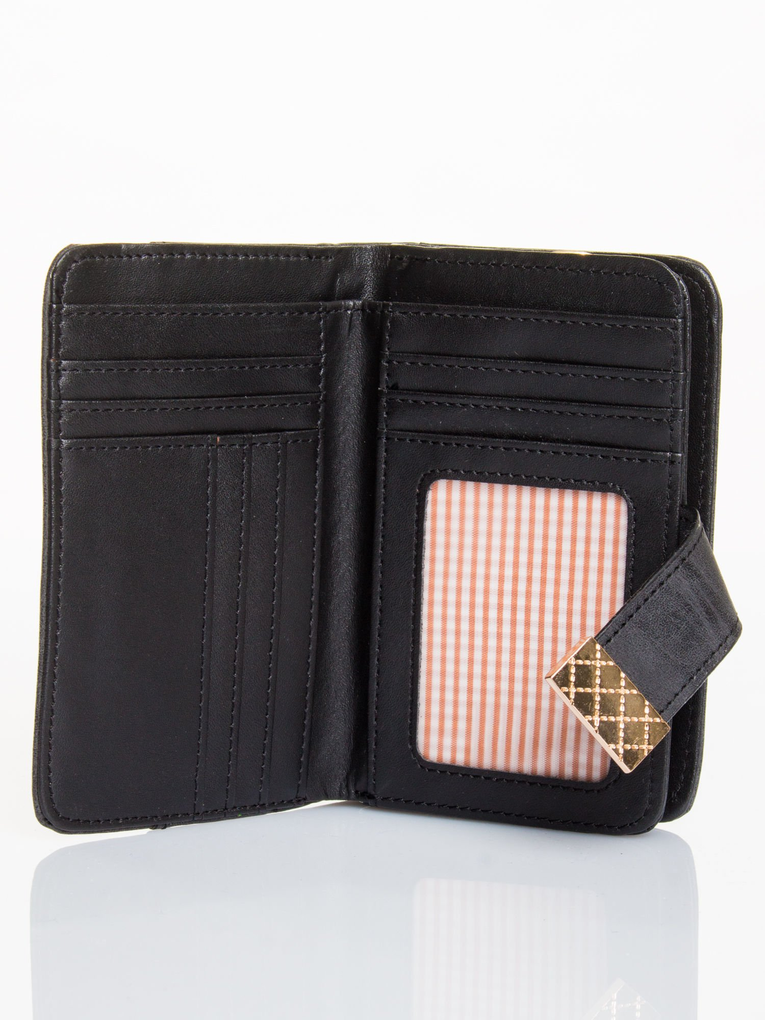 Czarny portfel z plecionką                                  zdj.                                  3