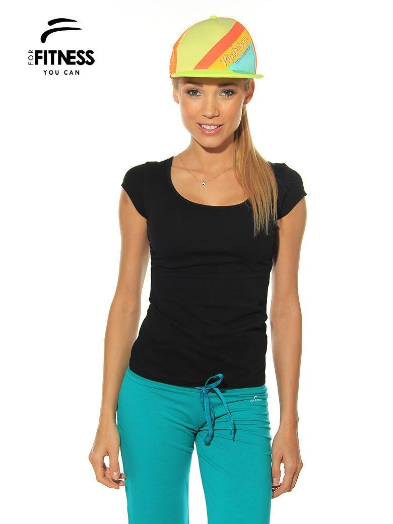 Czarny prosty t-shirt For Fitness                                  zdj.                                  1