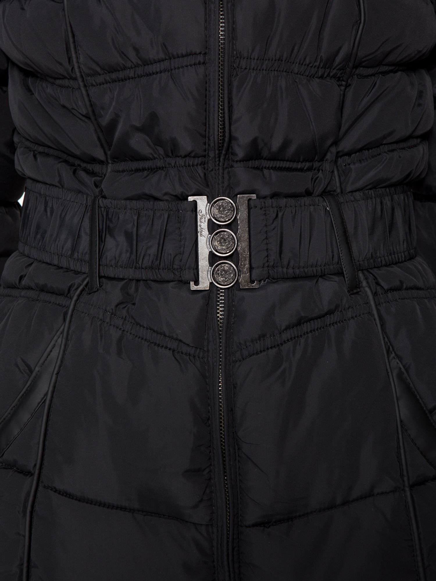 Czarny puchowy płaszcz zapinany na pasek z klamrą                                  zdj.                                  11