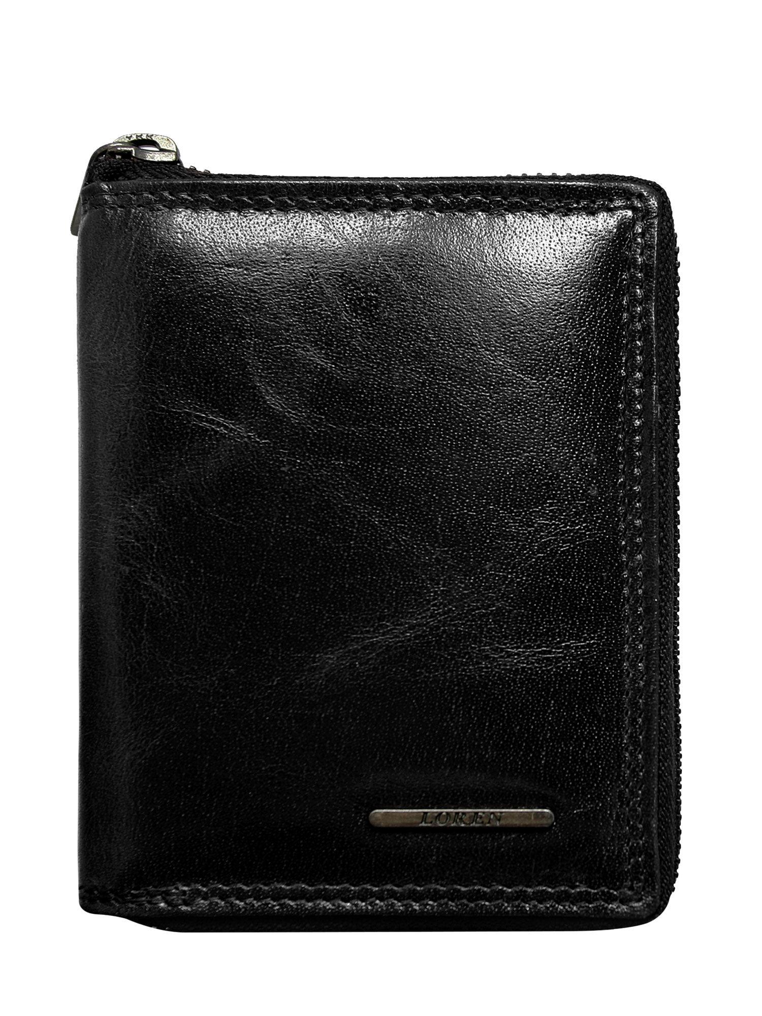 3c4798a217f0d Czarny skórzany portfel zapinany na suwak - Mężczyźni portfel męski ...