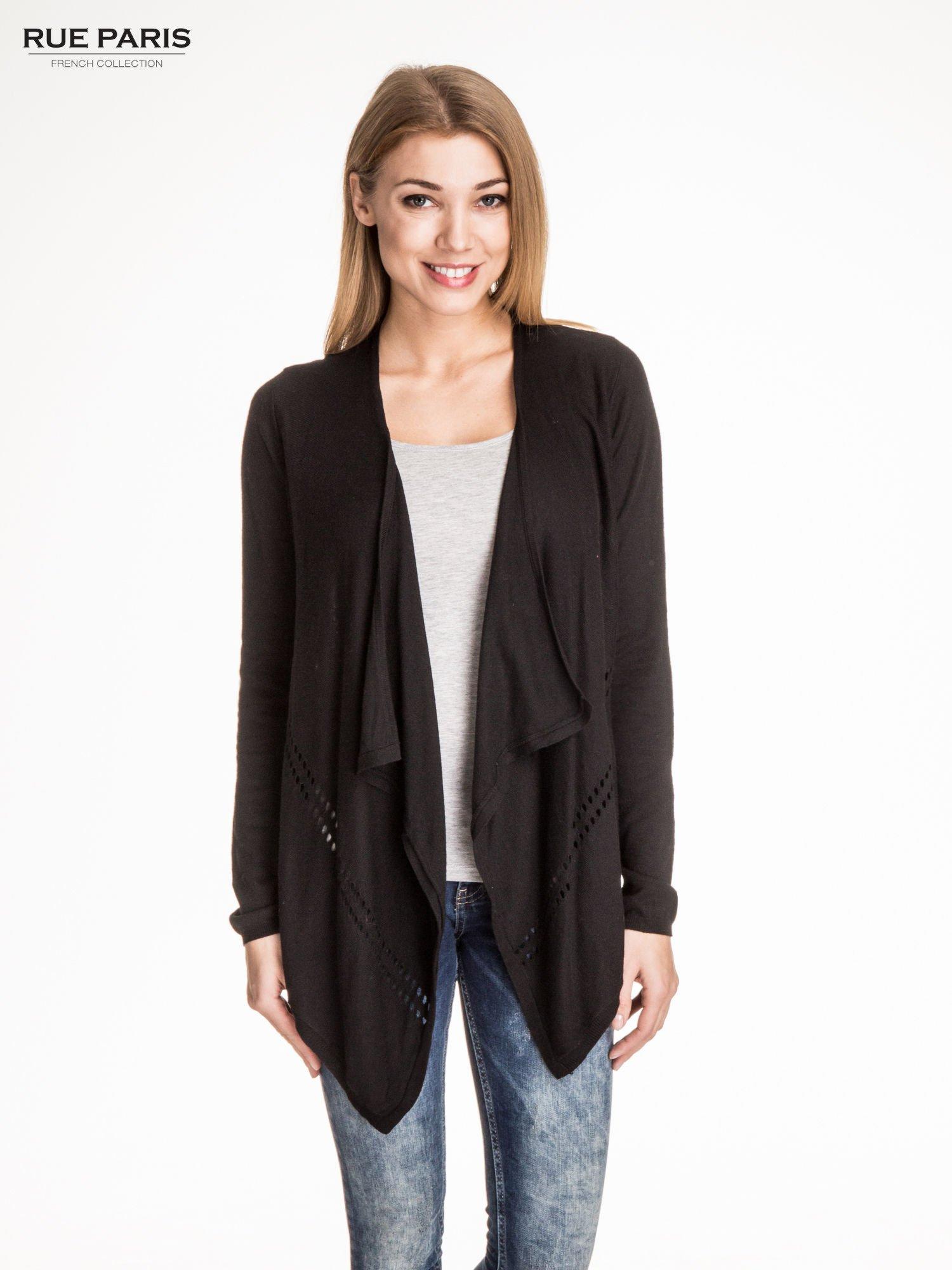 Czarny sweter z kaskadowymi bokami i oczkami                                  zdj.                                  1