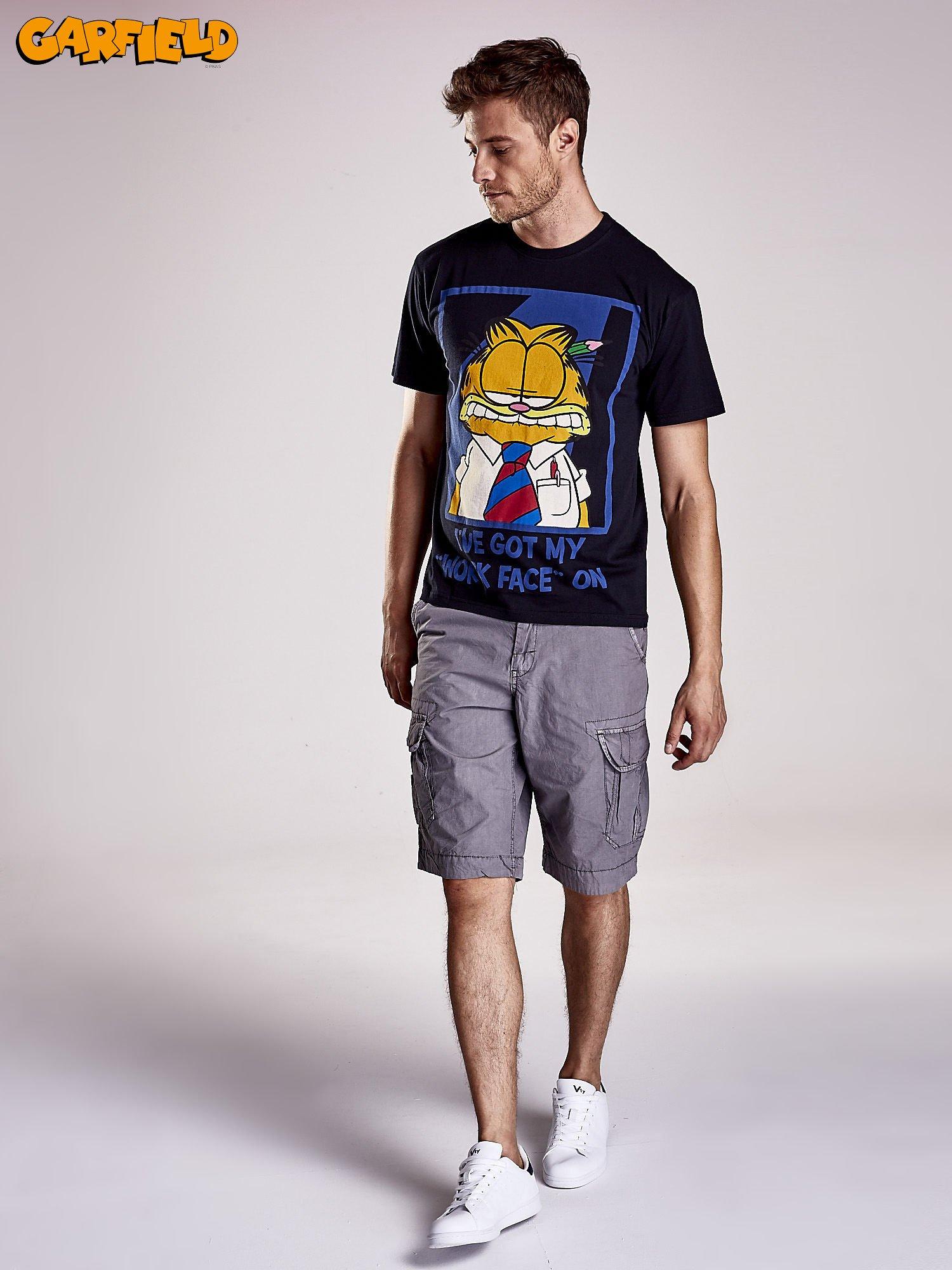 Czarny t-shirt męski GARFIELD                                  zdj.                                  2