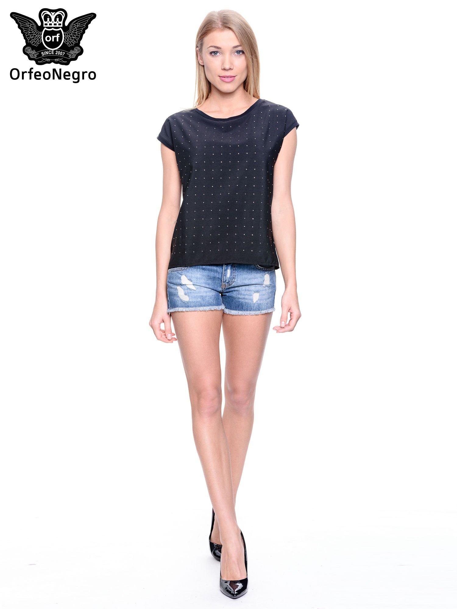 Czarny t-shirt z dżetami                                  zdj.                                  2