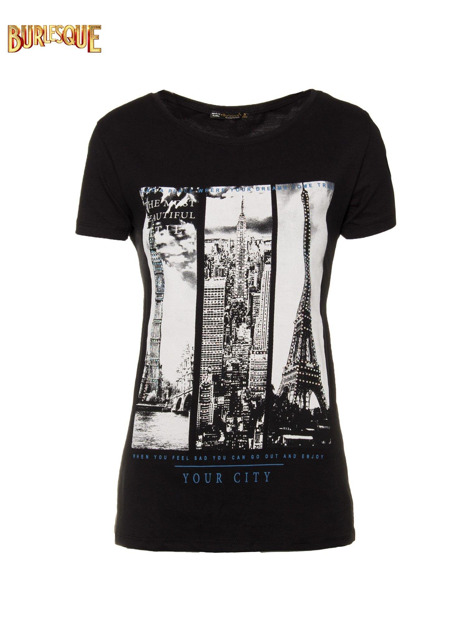 Czarny t-shirt z fotografiami miast                                  zdj.                                  1