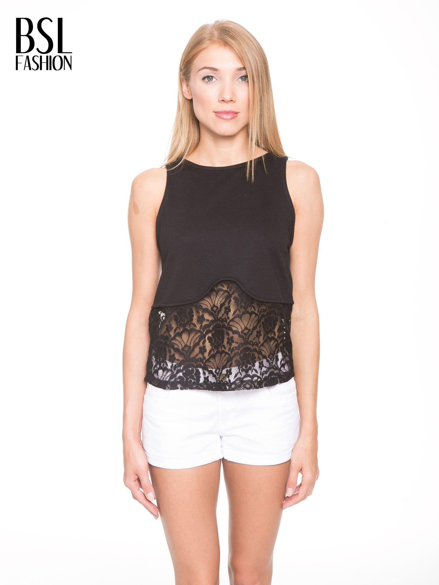 Czarny t-shirt z koronkowym dołem i zamkiem z tyłu                                  zdj.                                  1