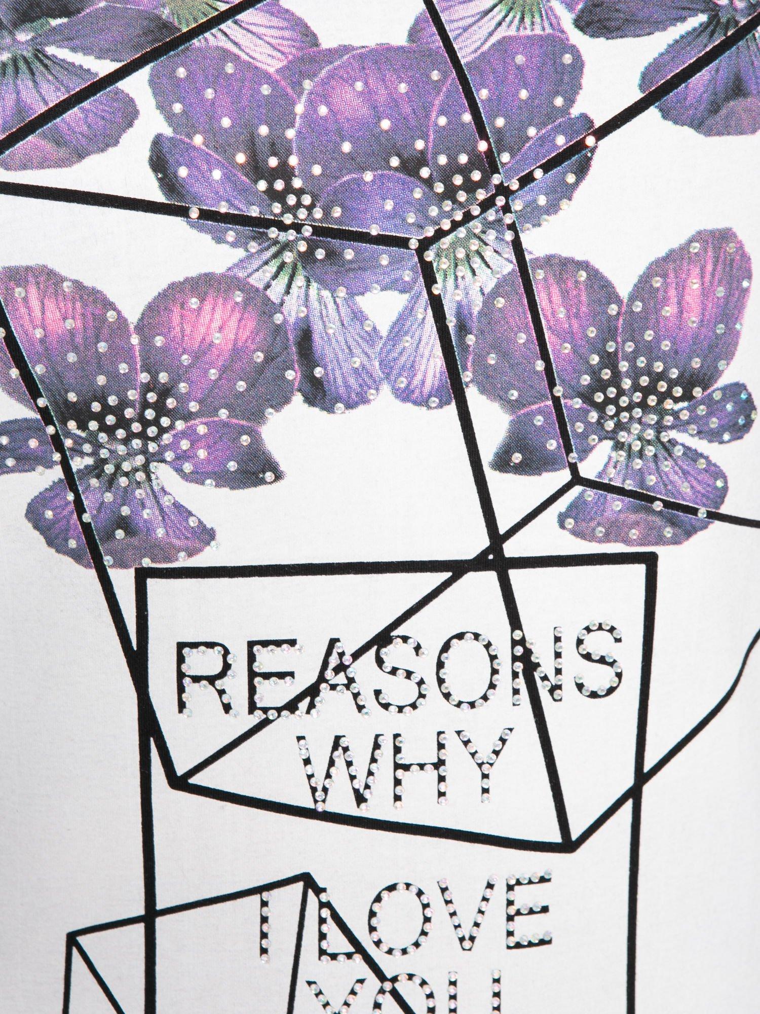 Czarny t-shirt z kwiatowym nadrukiem zdobionym dżetami                                  zdj.                                  8