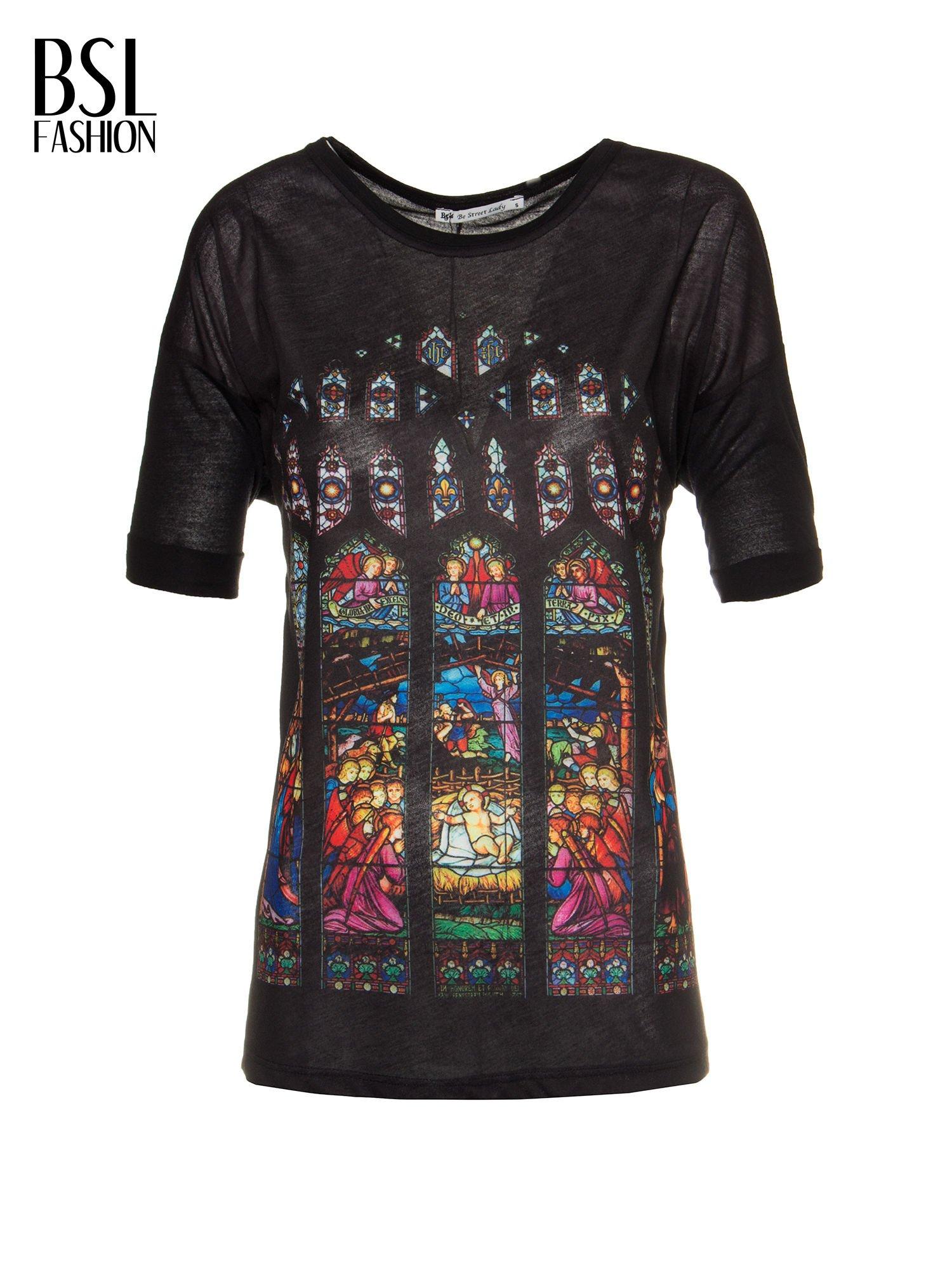 Czarny t-shirt z motywem religijnym                                  zdj.                                  2