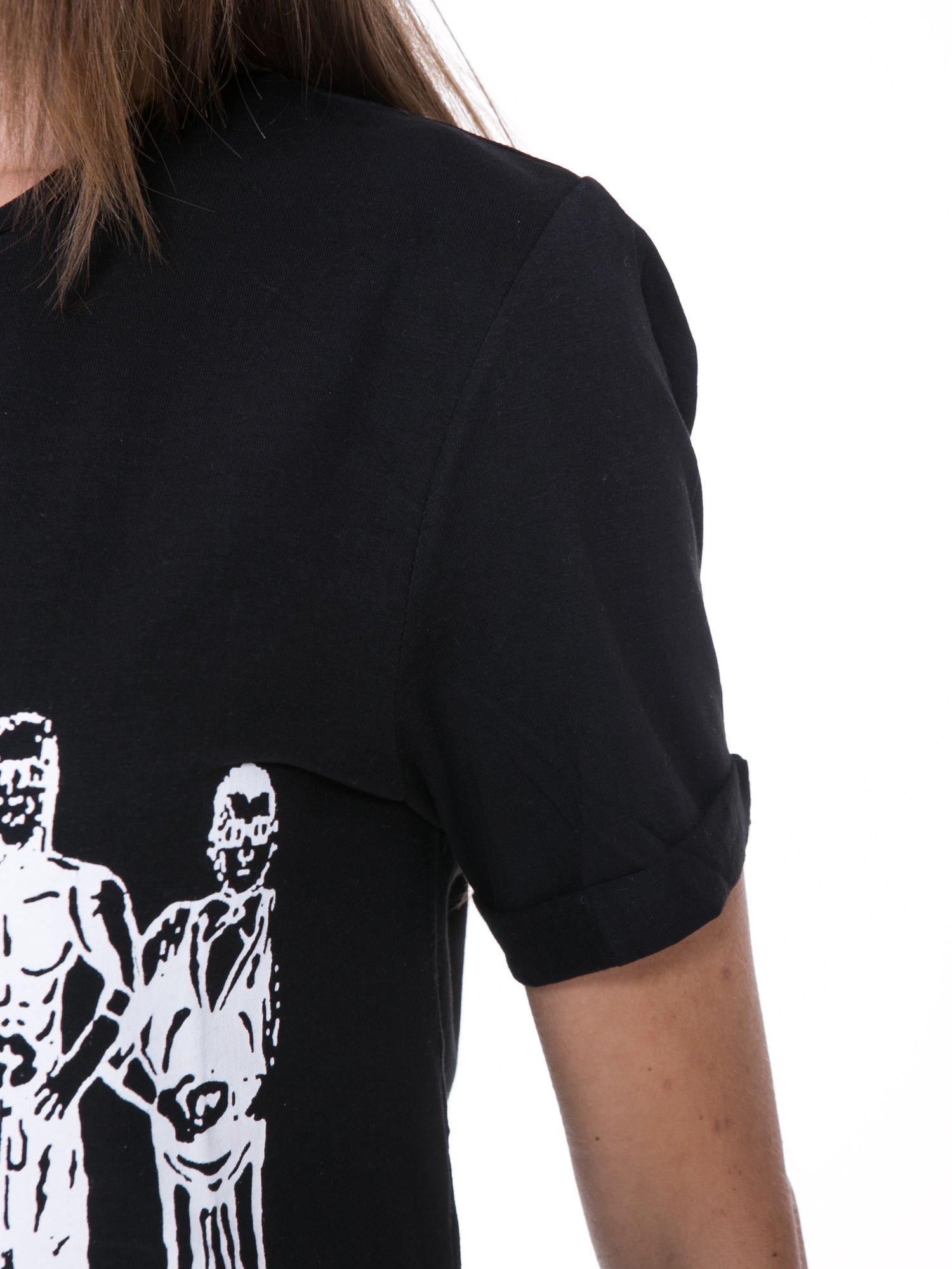 Czarny t-shirt z nadrukiem HEROÉS IN PARIS                                  zdj.                                  7