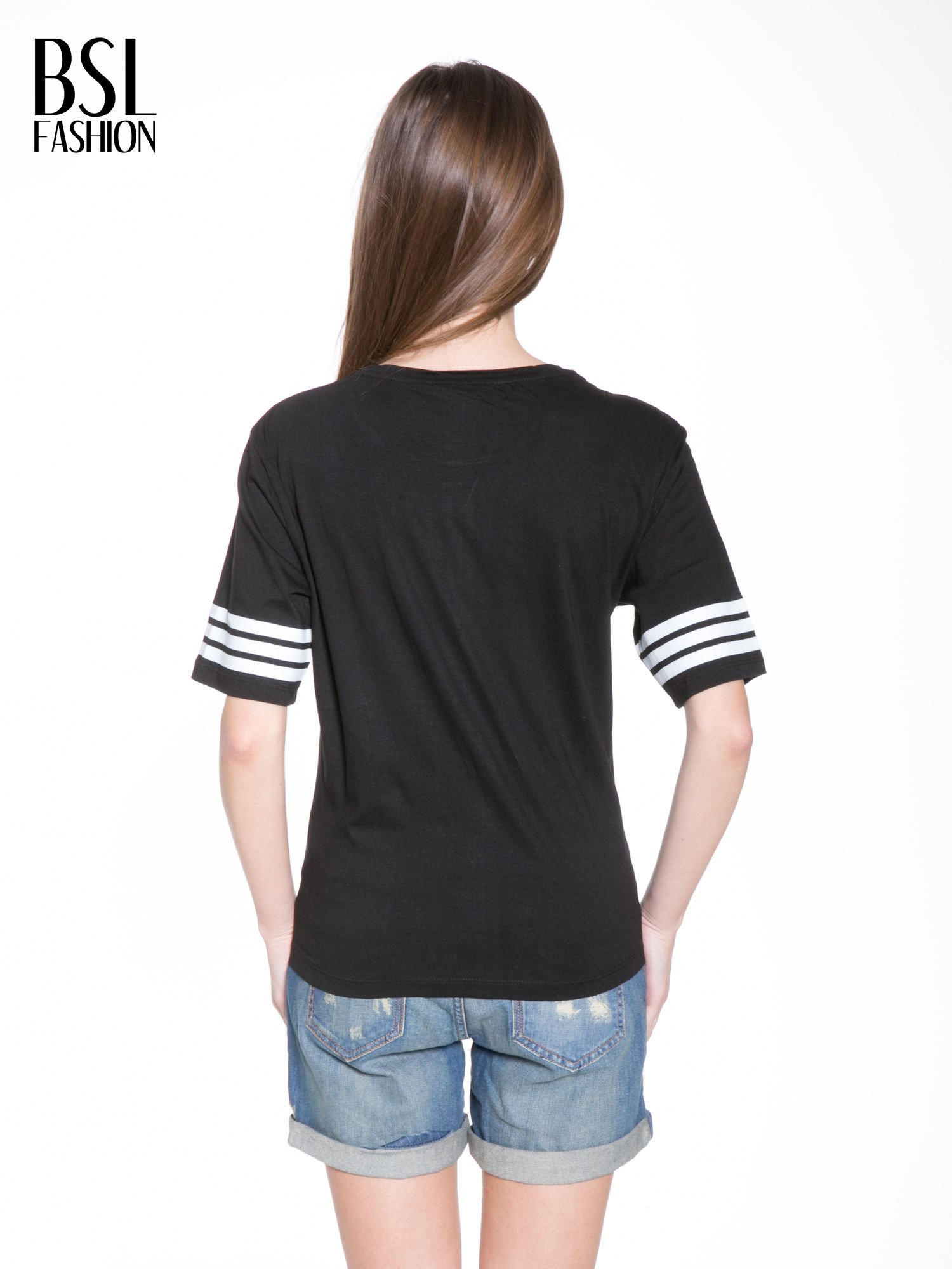 Czarny t-shirt z nadrukiem LA w baseballowym stylu                                  zdj.                                  4