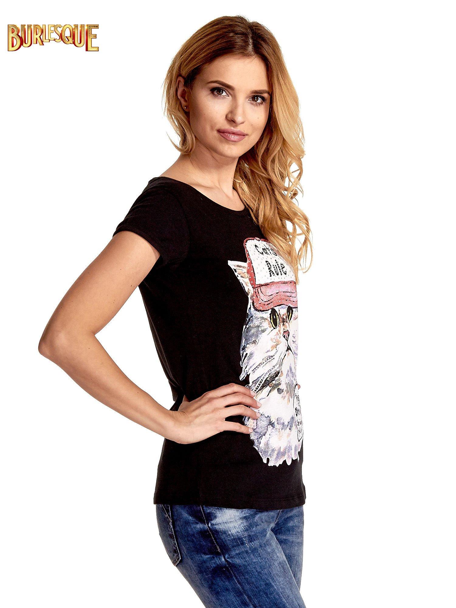 Czarny t-shirt z nadrukiem kota i napisem CATS RULE                                  zdj.                                  3
