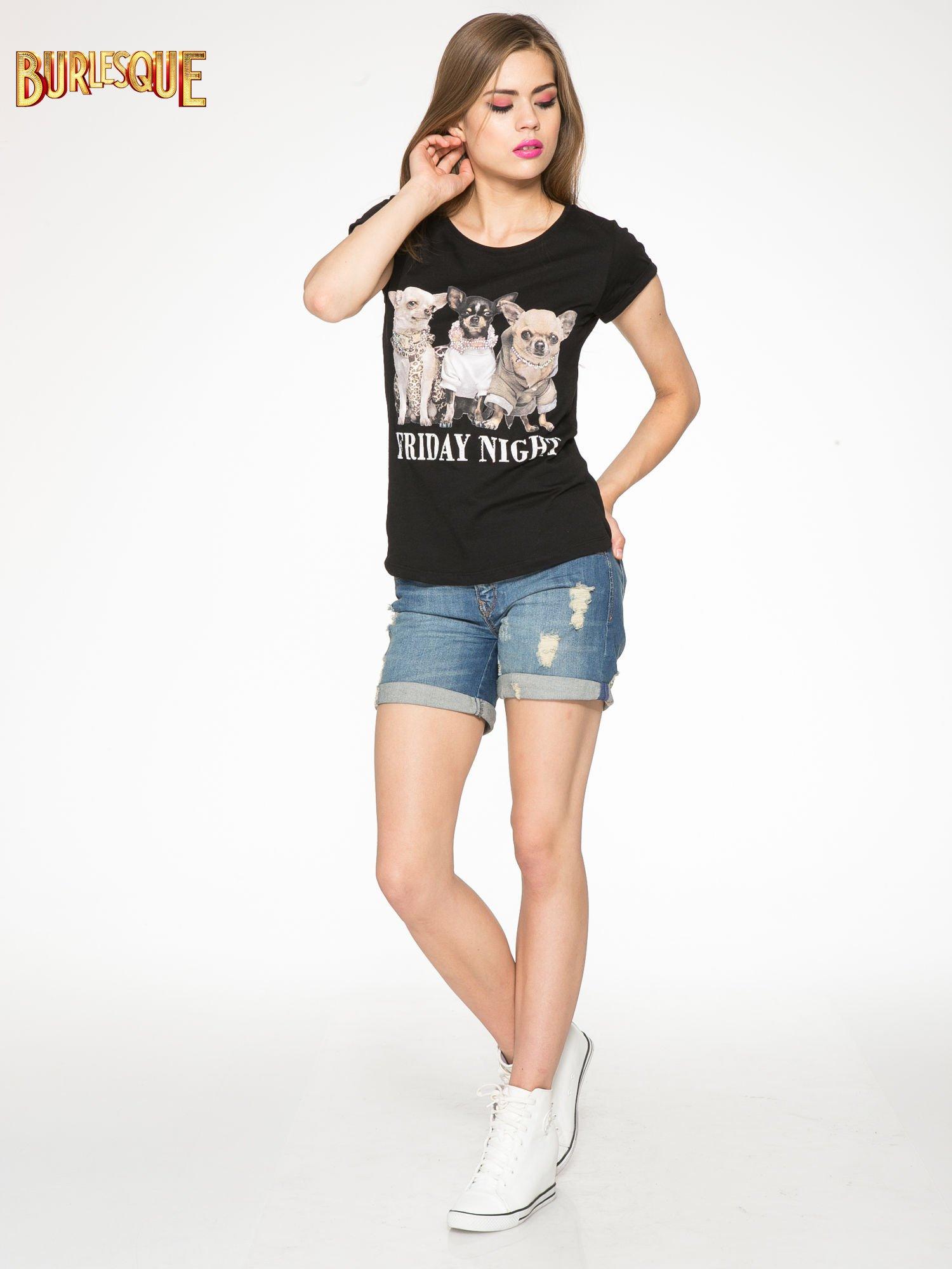 Czarny t-shirt z nadrukiem szczeniąt                                  zdj.                                  2