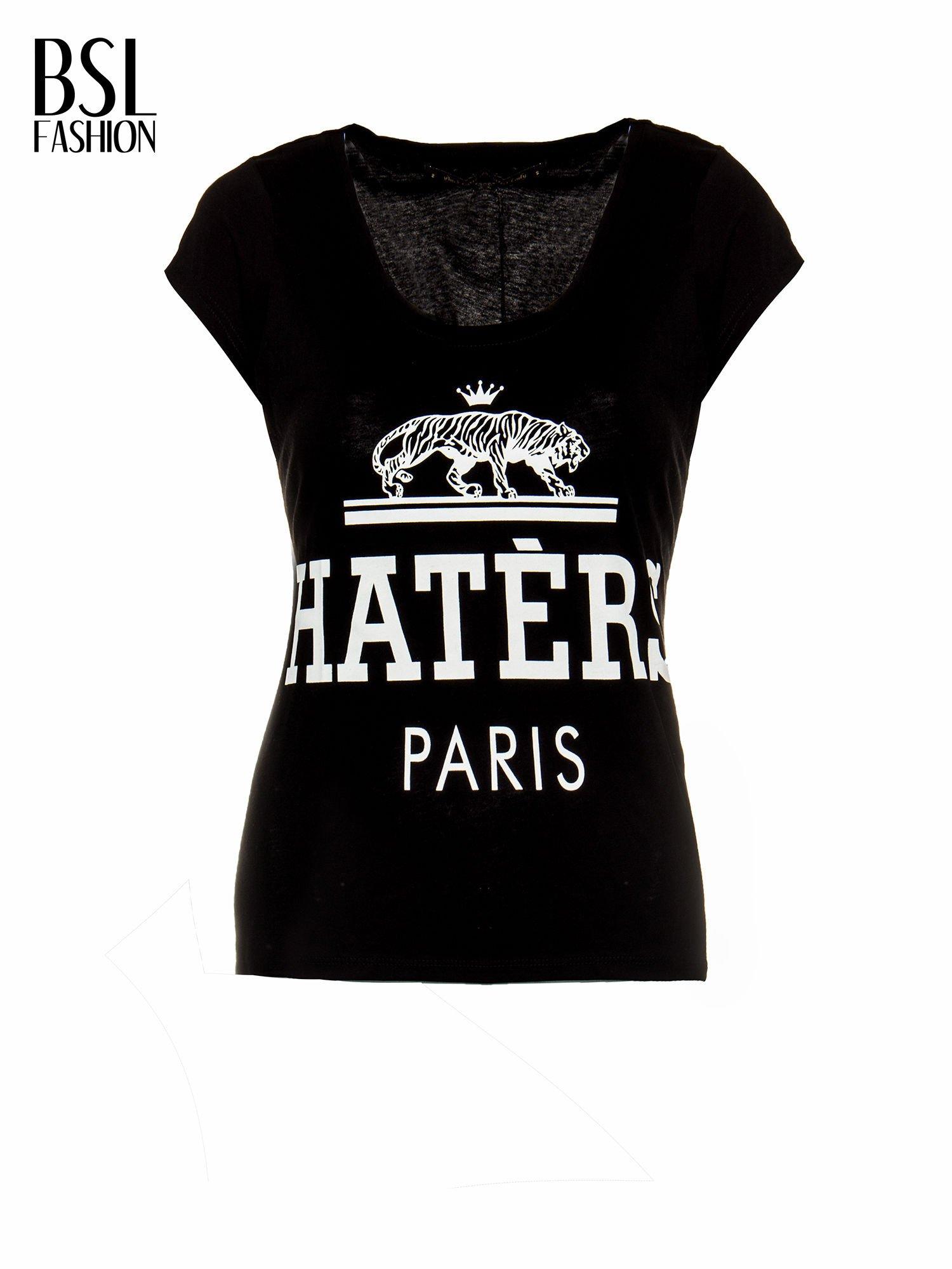 Czarny t-shirt z napisem HATERS PARIS                                  zdj.                                  2