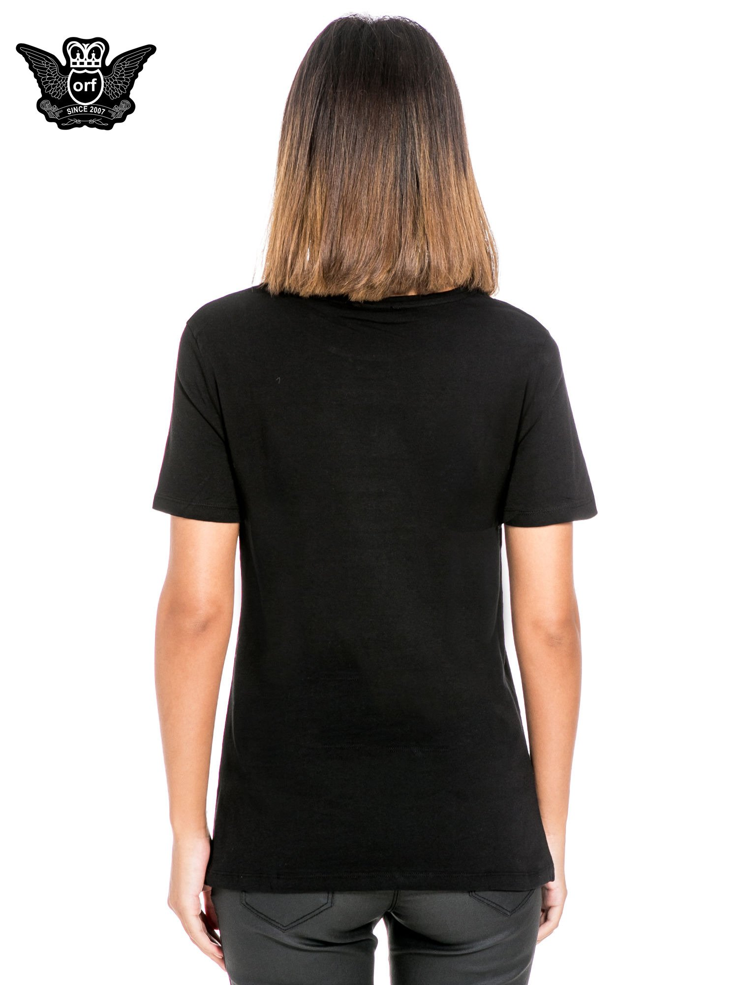 Czarny t-shirt z napisem NO. 4 PARIS                                  zdj.                                  4
