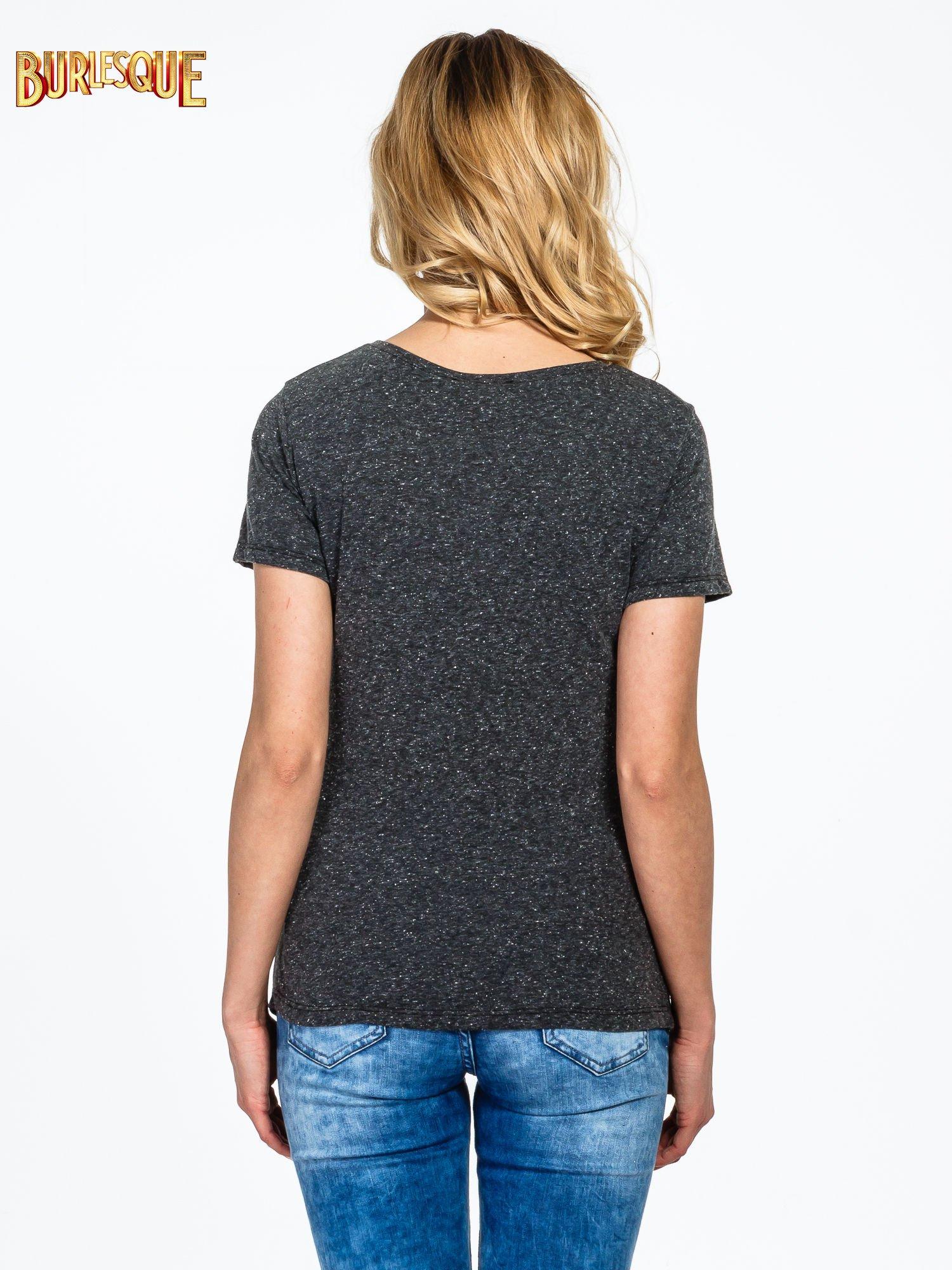 Czarny t-shirt z napisem POSITIVE MIND z dżetami                                  zdj.                                  4