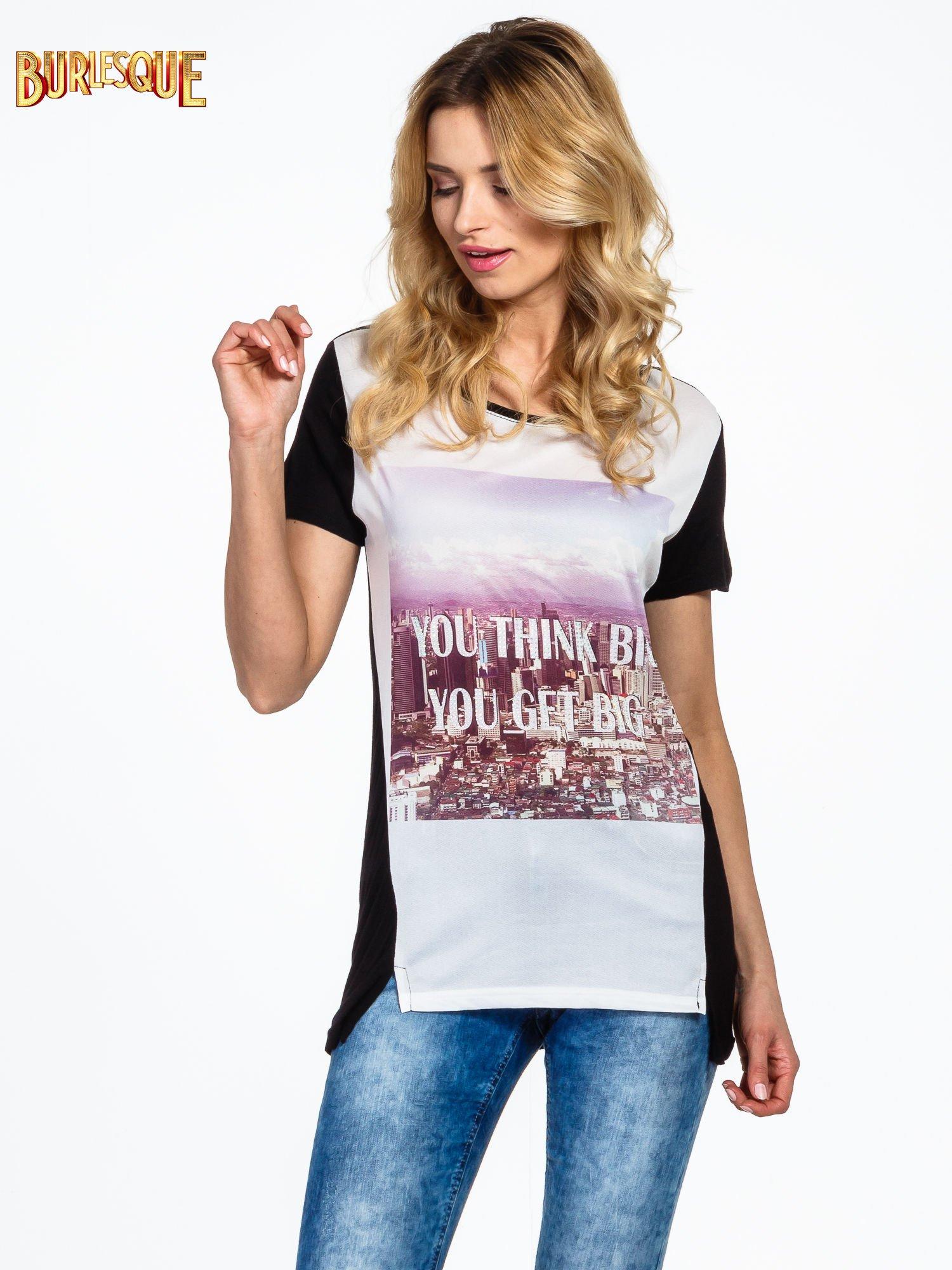 Czarny t-shirt z napisem YOU THINK BIG YOU GET BIG                                  zdj.                                  1