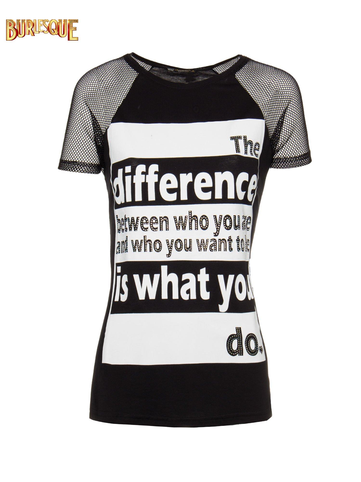 Czarny t-shirt z napisem i siateczkowymi rękawami                                  zdj.                                  1