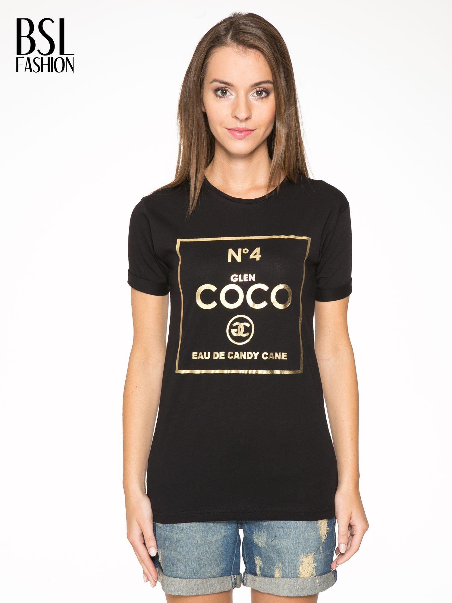 Czarny t-shirt ze złotym nadrukiem NO. 4 COCO                                  zdj.                                  1