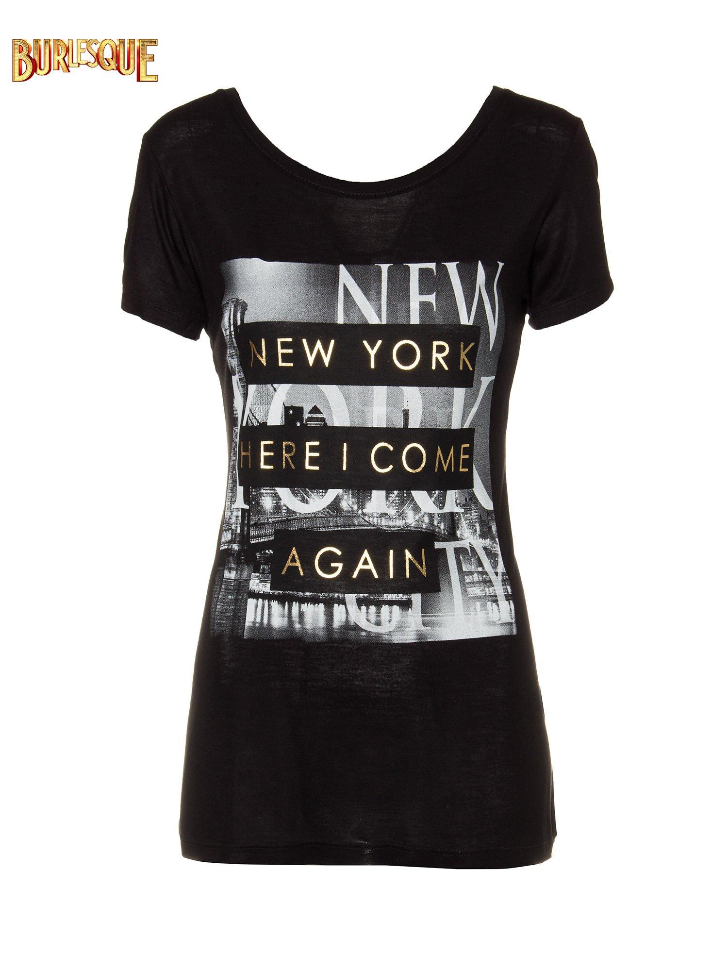 Czarny t-shirt ze złotym napisem NEW YORK HERE I COME AGAIN                                  zdj.                                  1
