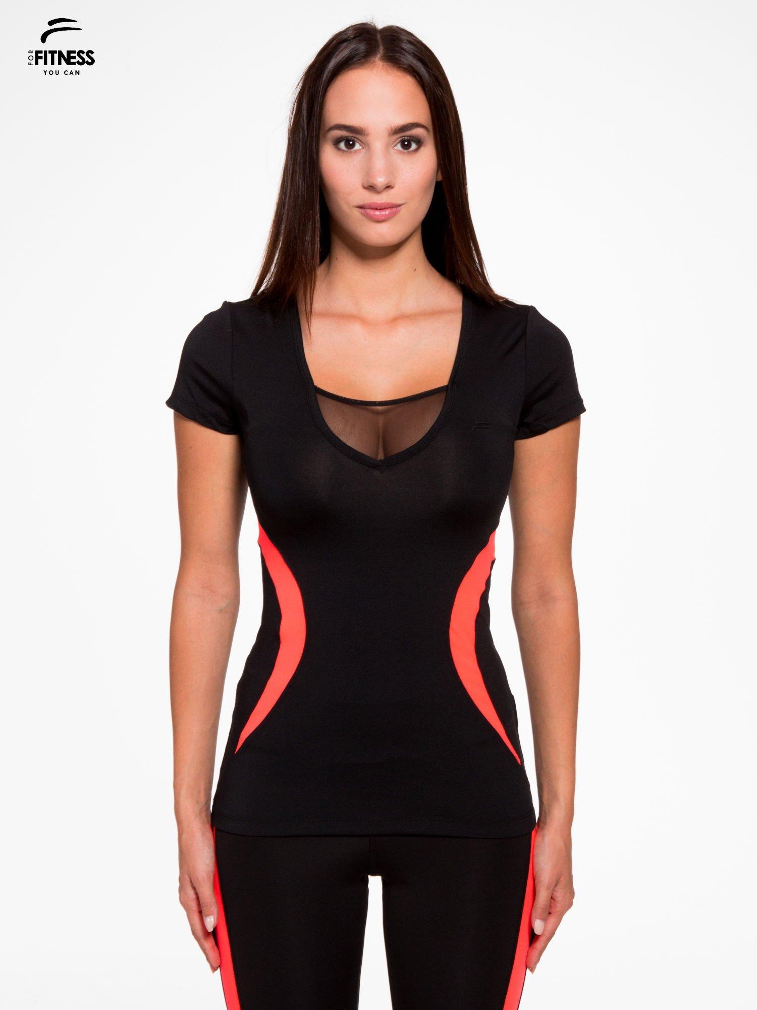 3fa5219e340d55 Czarny termoaktywny t-shirt sportowy z siateczką przy dekolcie z fluoróżową  wstawką ♢ Performance RUN ...