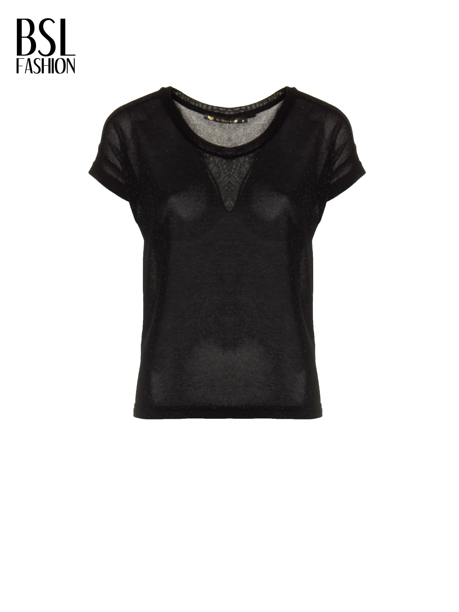 Czarny transparentny t-shirt przeplatany srebrną nicią                                  zdj.                                  2
