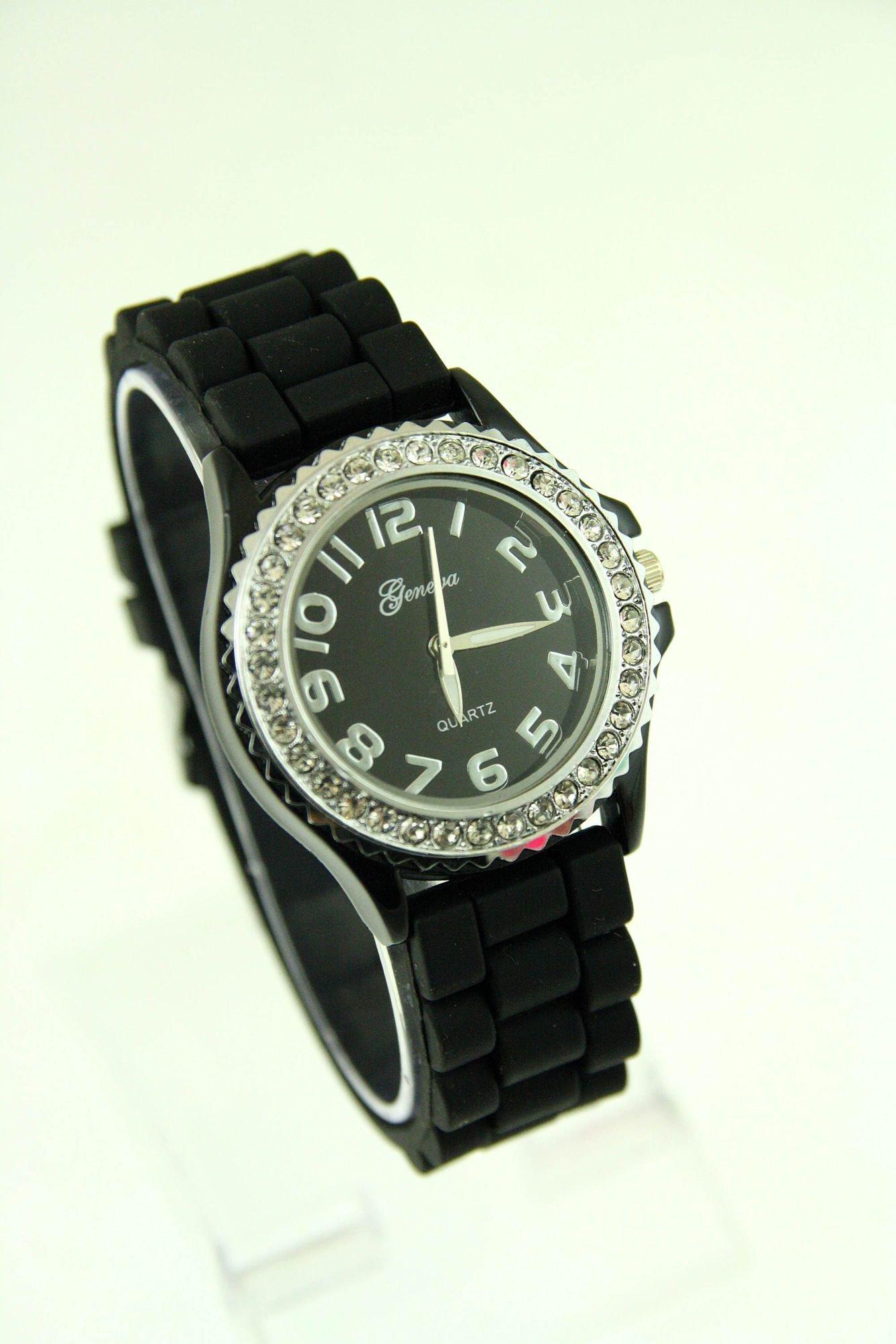 Czarny zegarek damski na silikonowym pasku                                  zdj.                                  1