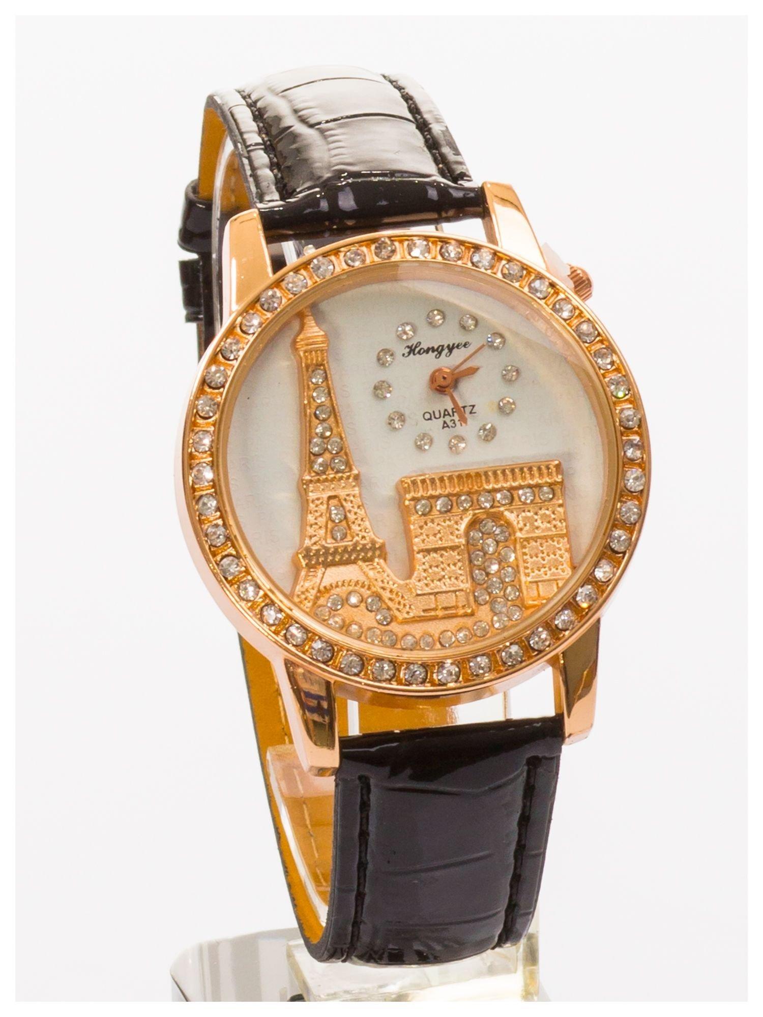 Czarny zegarek damski z cyrkoniami na skórzanym pasku                                  zdj.                                  1