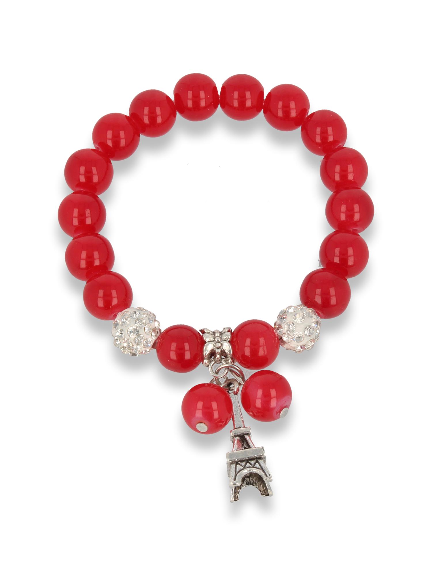 Czerwona Bransoletka koralikowa z zawieszką w kształcie wieży eiffla                                  zdj.                                  1