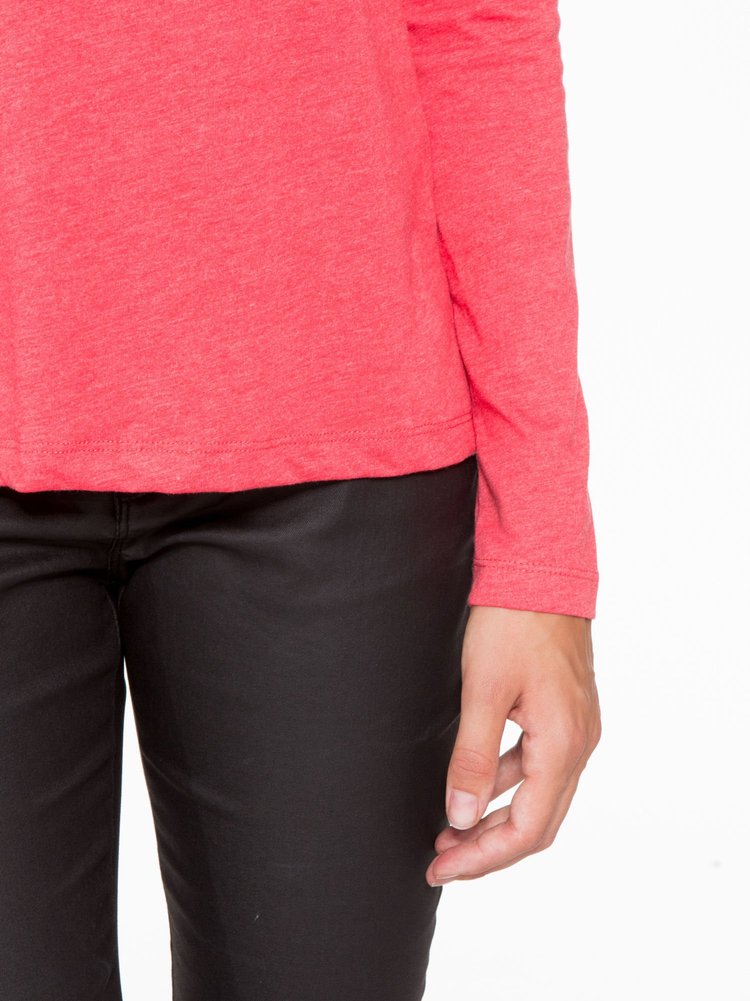Czerwona basicowa bluzka z długim rękawem                                  zdj.                                  6