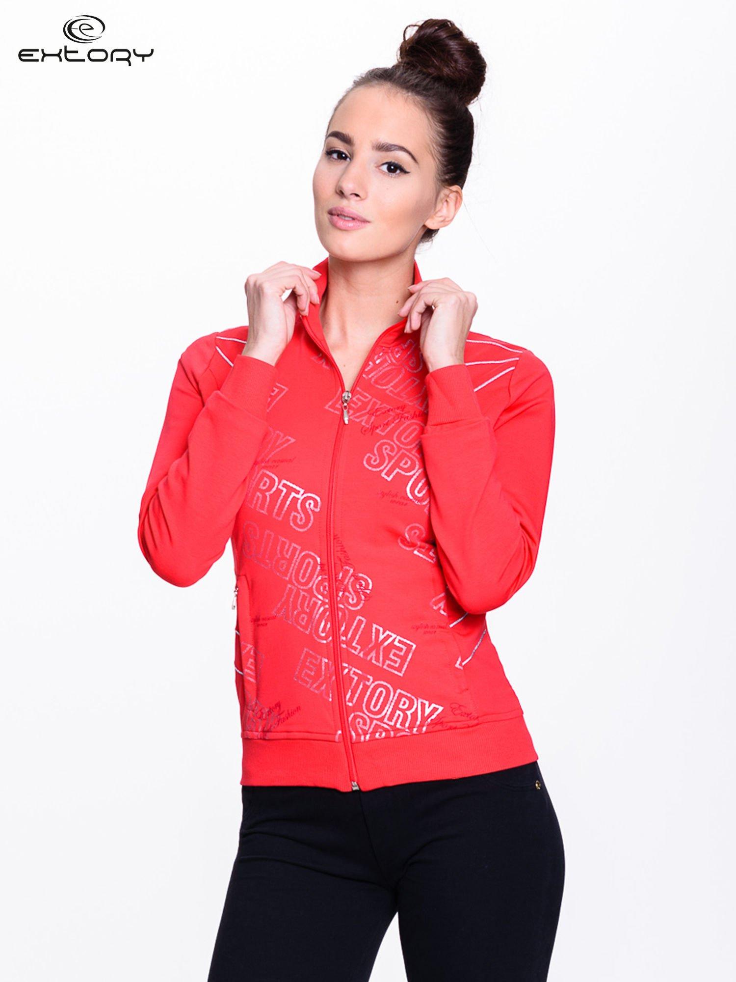 Czerwona bluza sportowa z logo EXTORY                                  zdj.                                  5