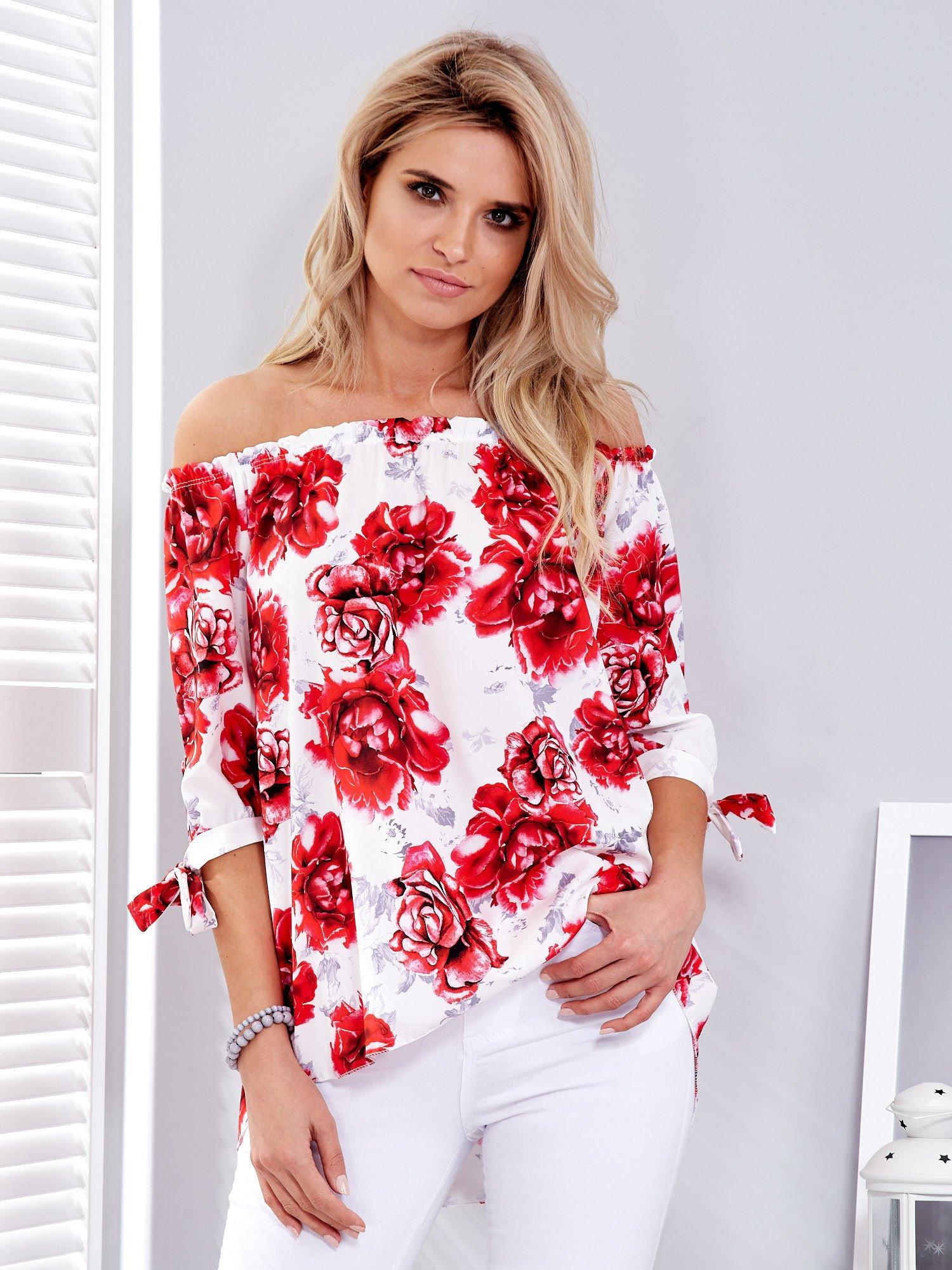 0e9142288b1325 Czerwona bluzka hiszpańska w kwiaty - Bluzka na co dzień - sklep eButik.pl
