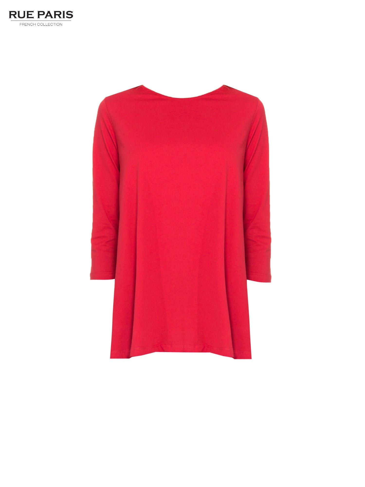 Czerwona bluzka o rozkloszowanym kroju z rękawem 3/4                                  zdj.                                  5