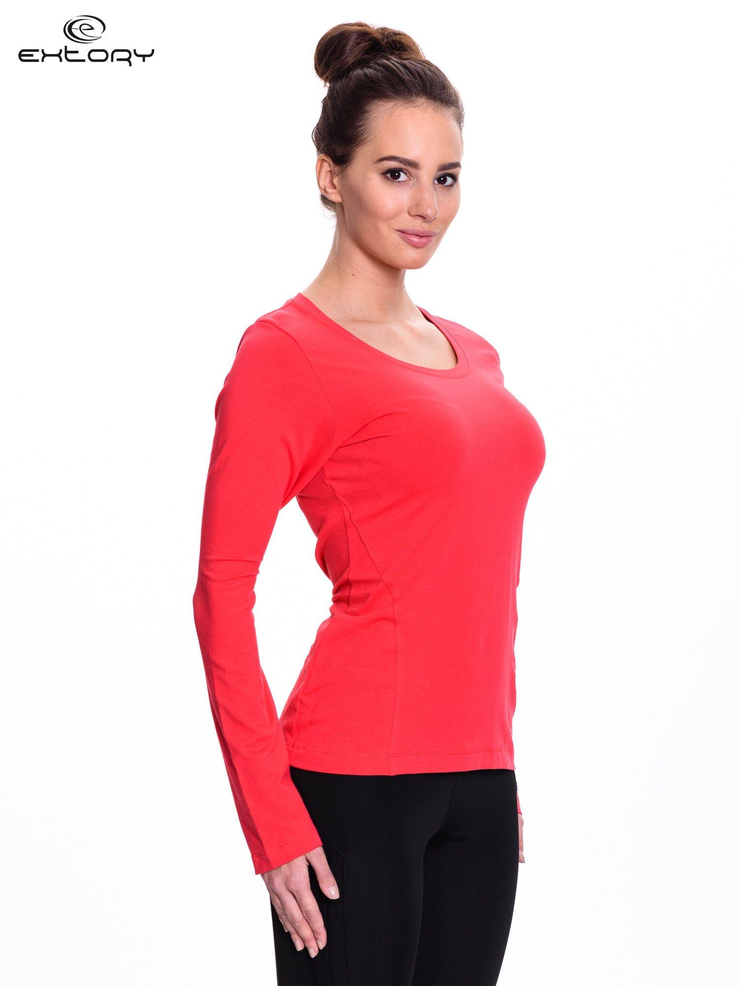 Czerwona bluzka sportowa z dekoltem U                                  zdj.                                  3